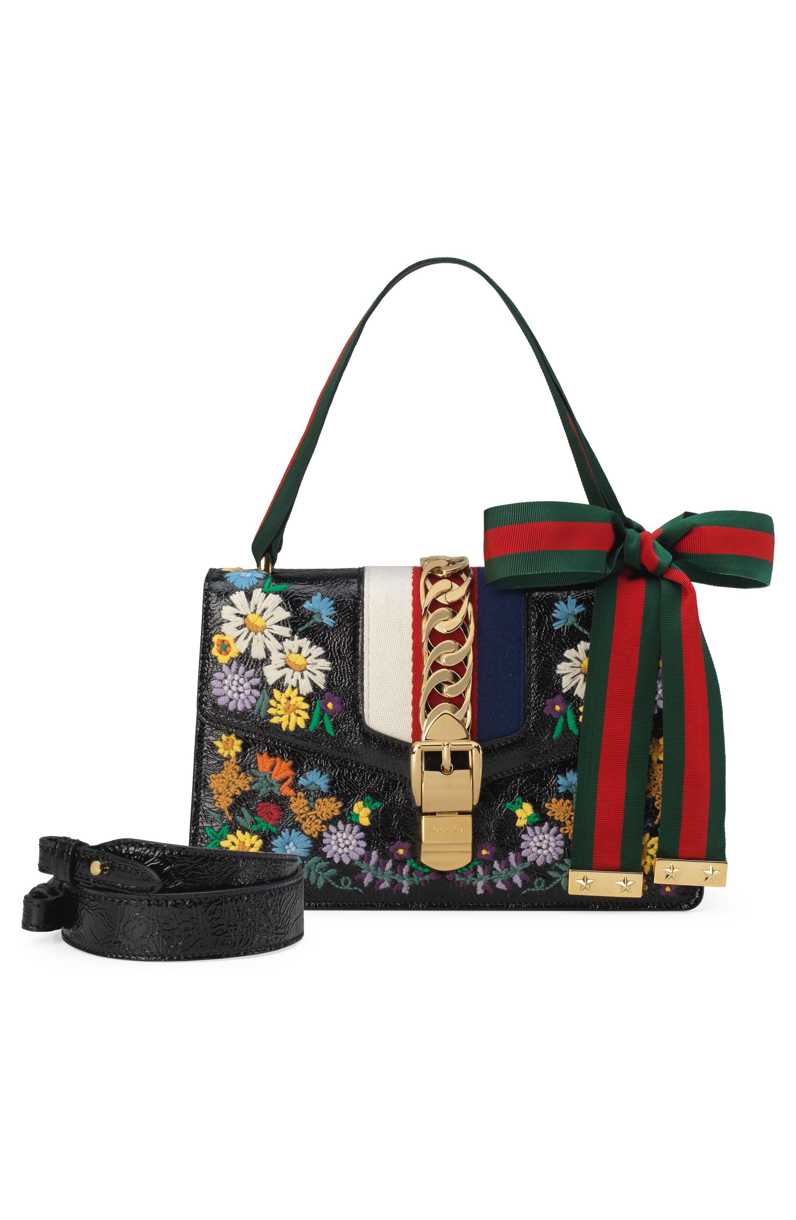 Small Sylvie Floral Embroidered Leather Top Handle Shoulder Bag,                             Alternate thumbnail 2, color,                             NERO MULTI