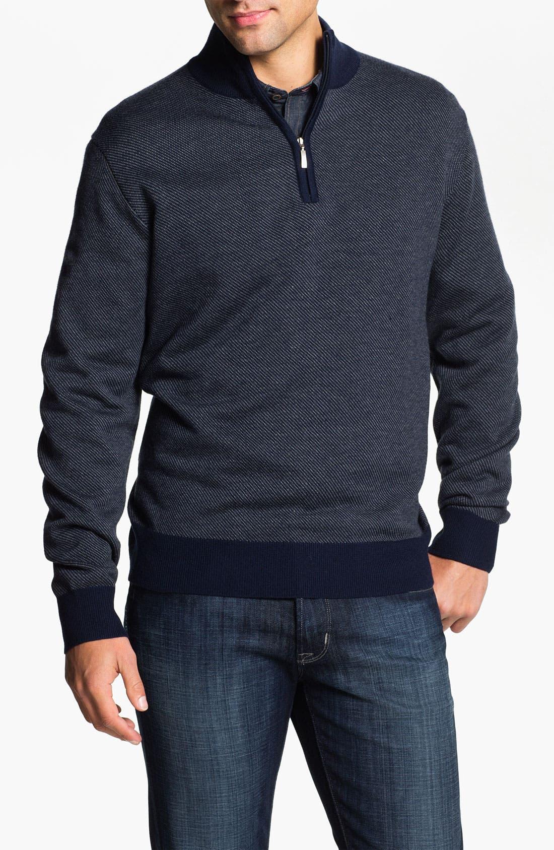 Merino Wool Blend Quarter Zip Sweater,                             Main thumbnail 1, color,                             400