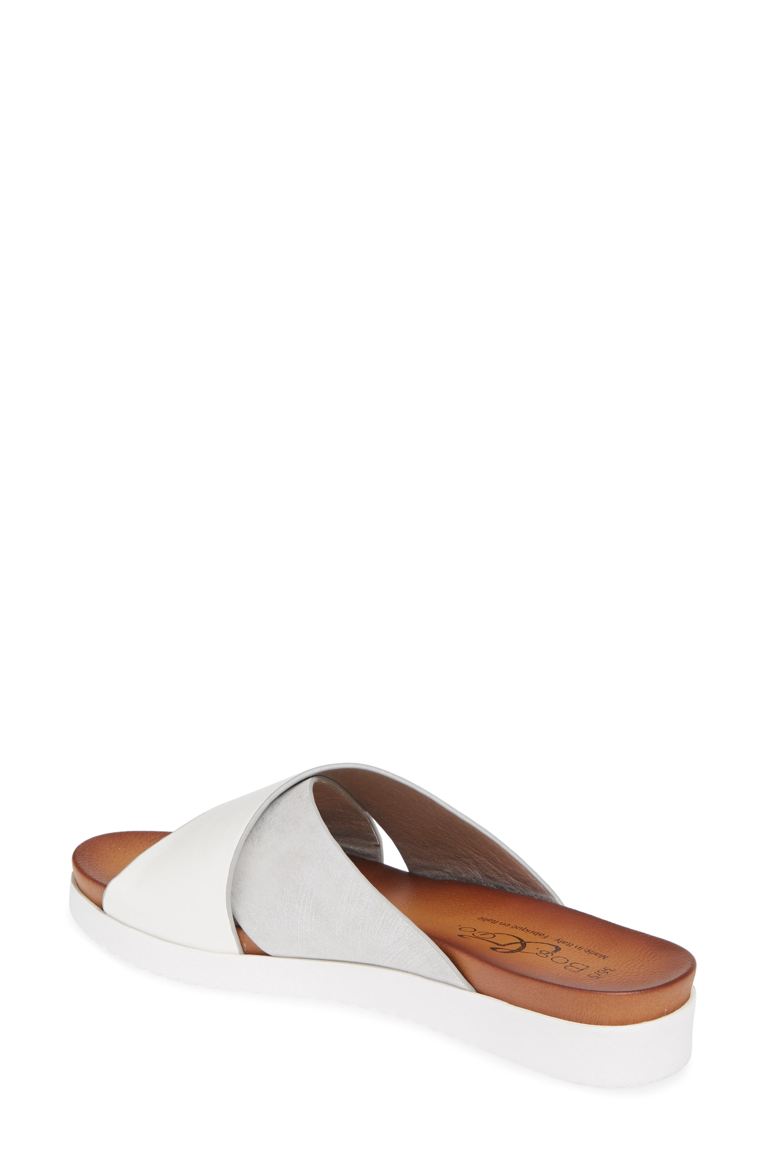 Rwon Slide Sandal,                             Alternate thumbnail 2, color,                             WHITE/ SILVER LEATHER