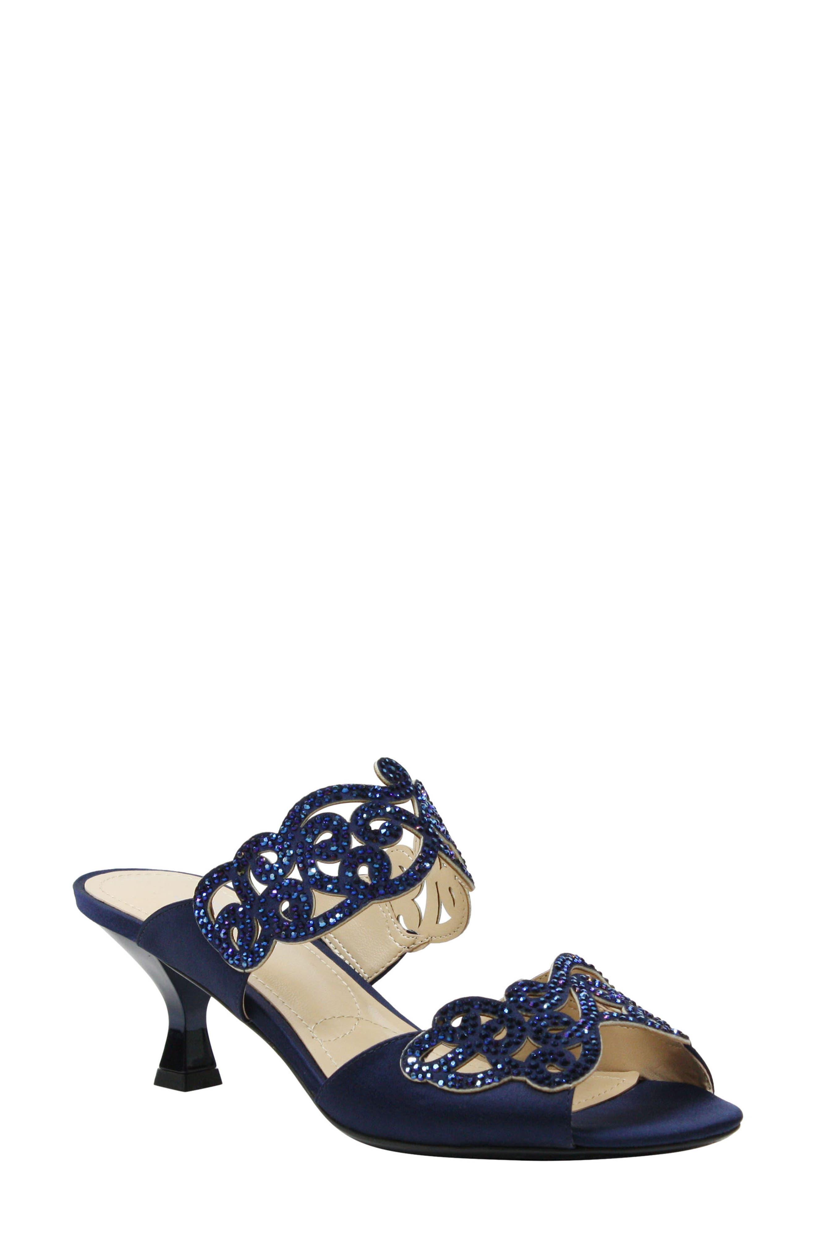'Francie' Evening Sandal,                         Main,                         color, NAVY FABRIC