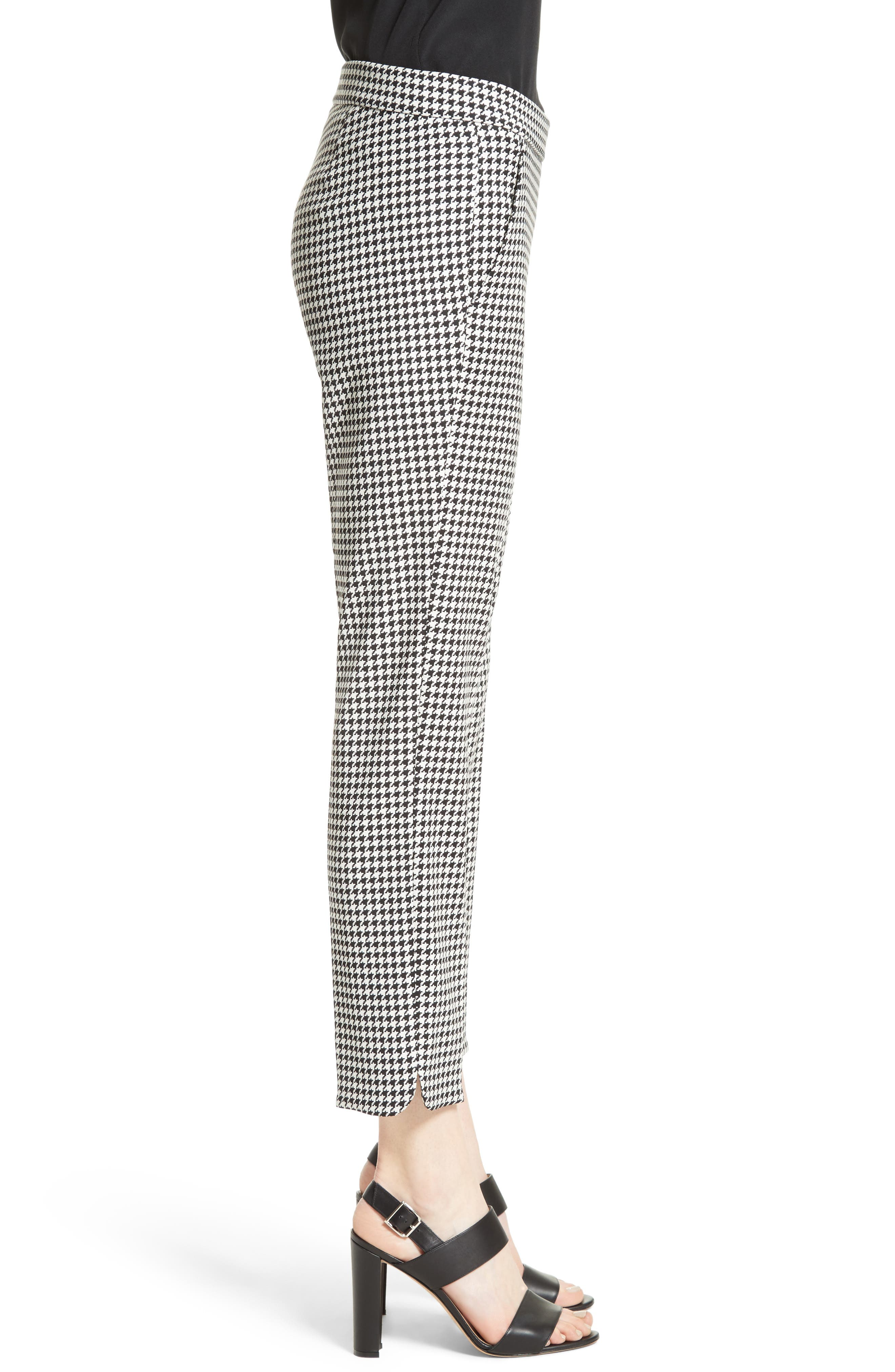 Astrale Houndstooth Wool Blend Pants,                             Alternate thumbnail 3, color,                             001