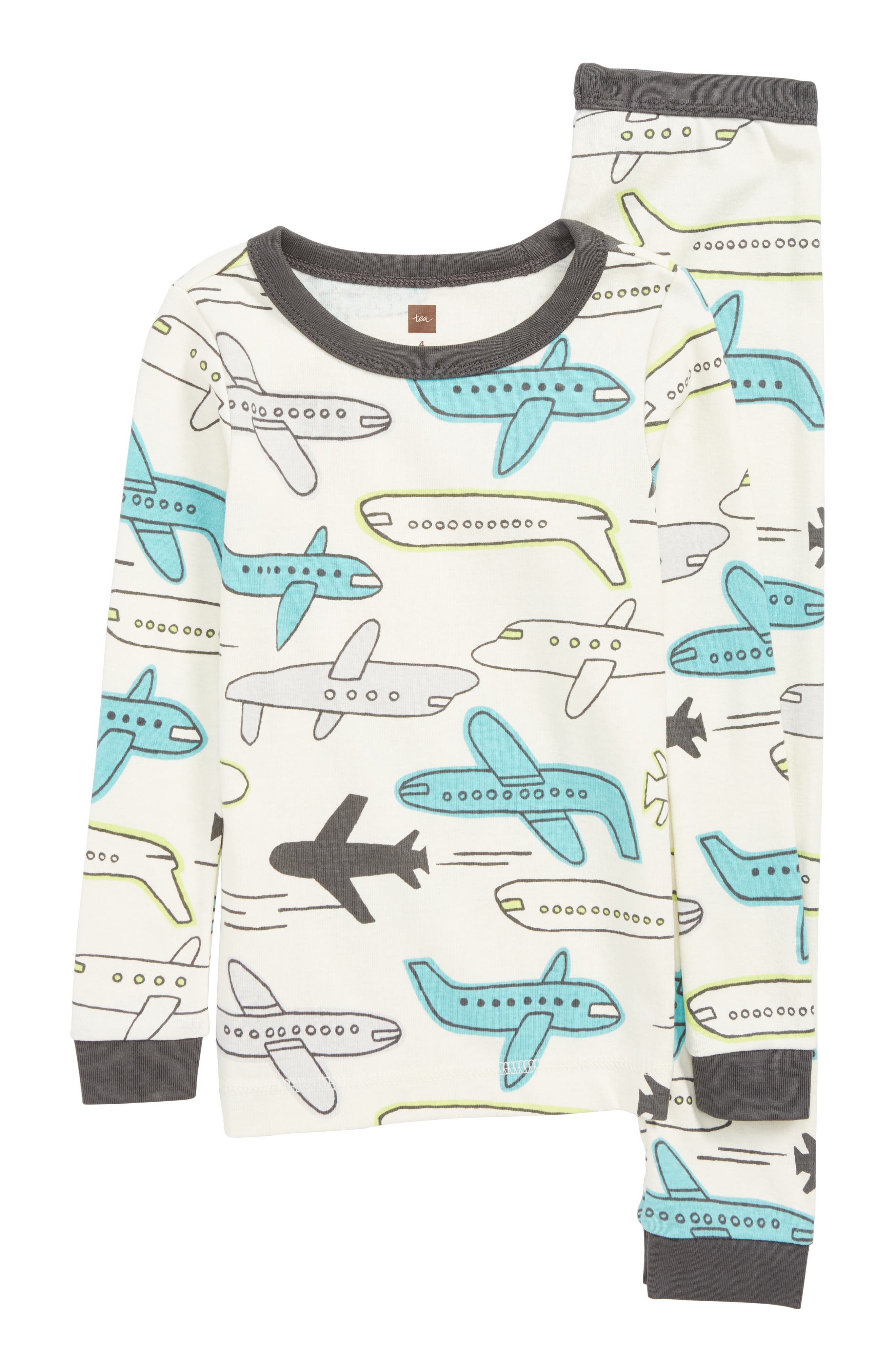 Fitted Two-Piece Pajamas,                         Main,                         color, JET PLANES