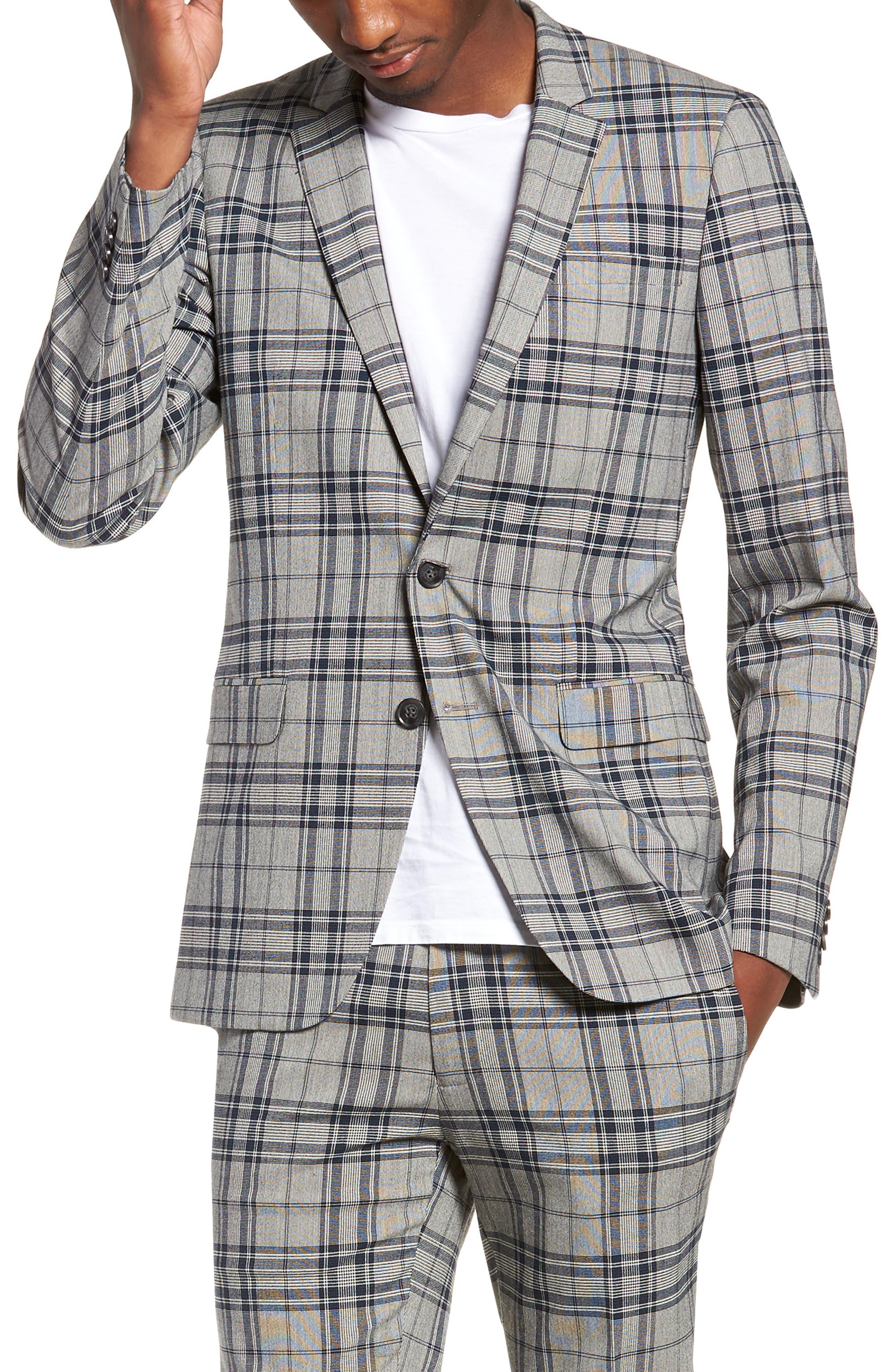 Skinny Fit Plaid Suit Jacket,                             Main thumbnail 1, color,                             GREY MULTI