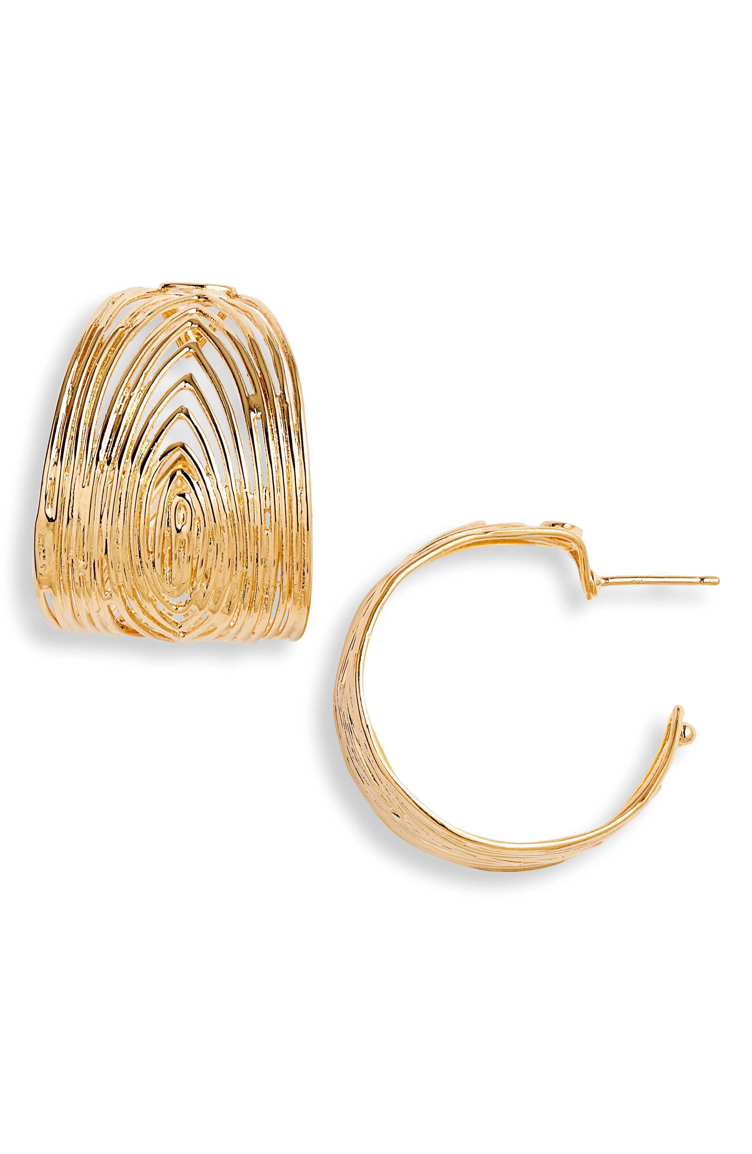 Wave Hoop Earrings,                         Main,                         color, YELLOW GOLD