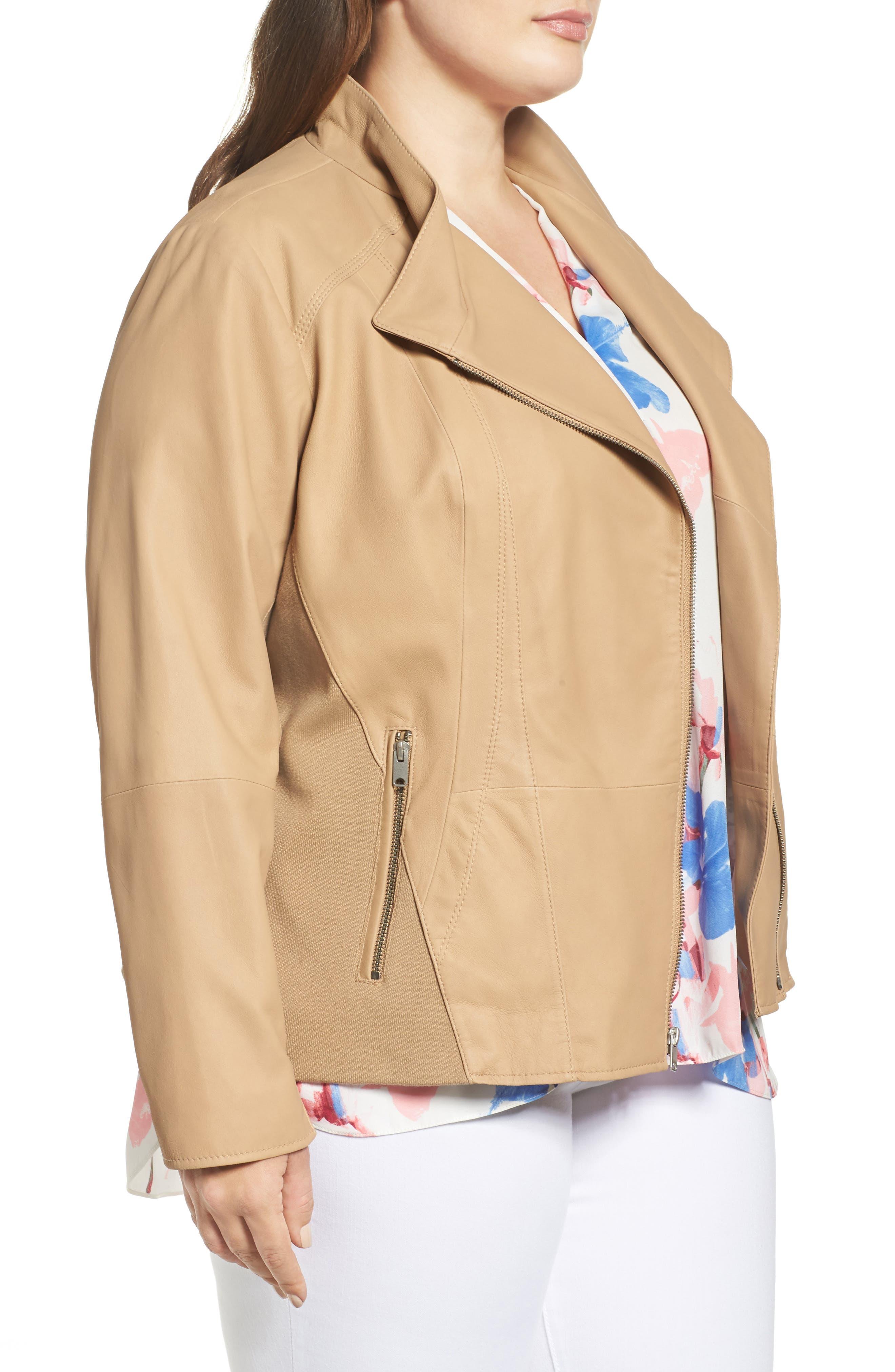Felicia Leather Moto Jacket,                             Alternate thumbnail 3, color,
