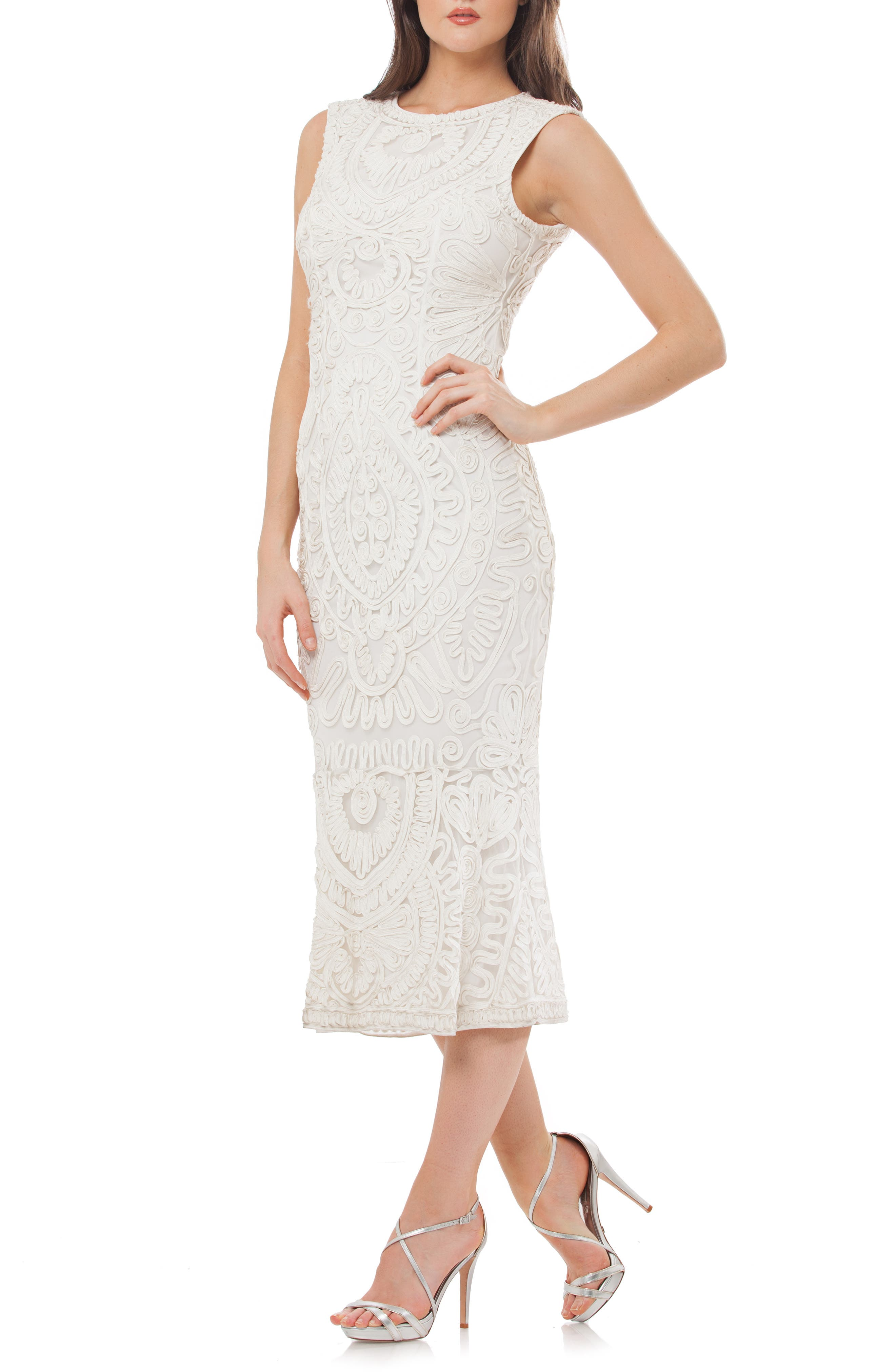 1930s Dresses | 30s Art Deco Dress Womens Js Collections Soutache Mesh Dress Size 6 - Ivory $260.00 AT vintagedancer.com