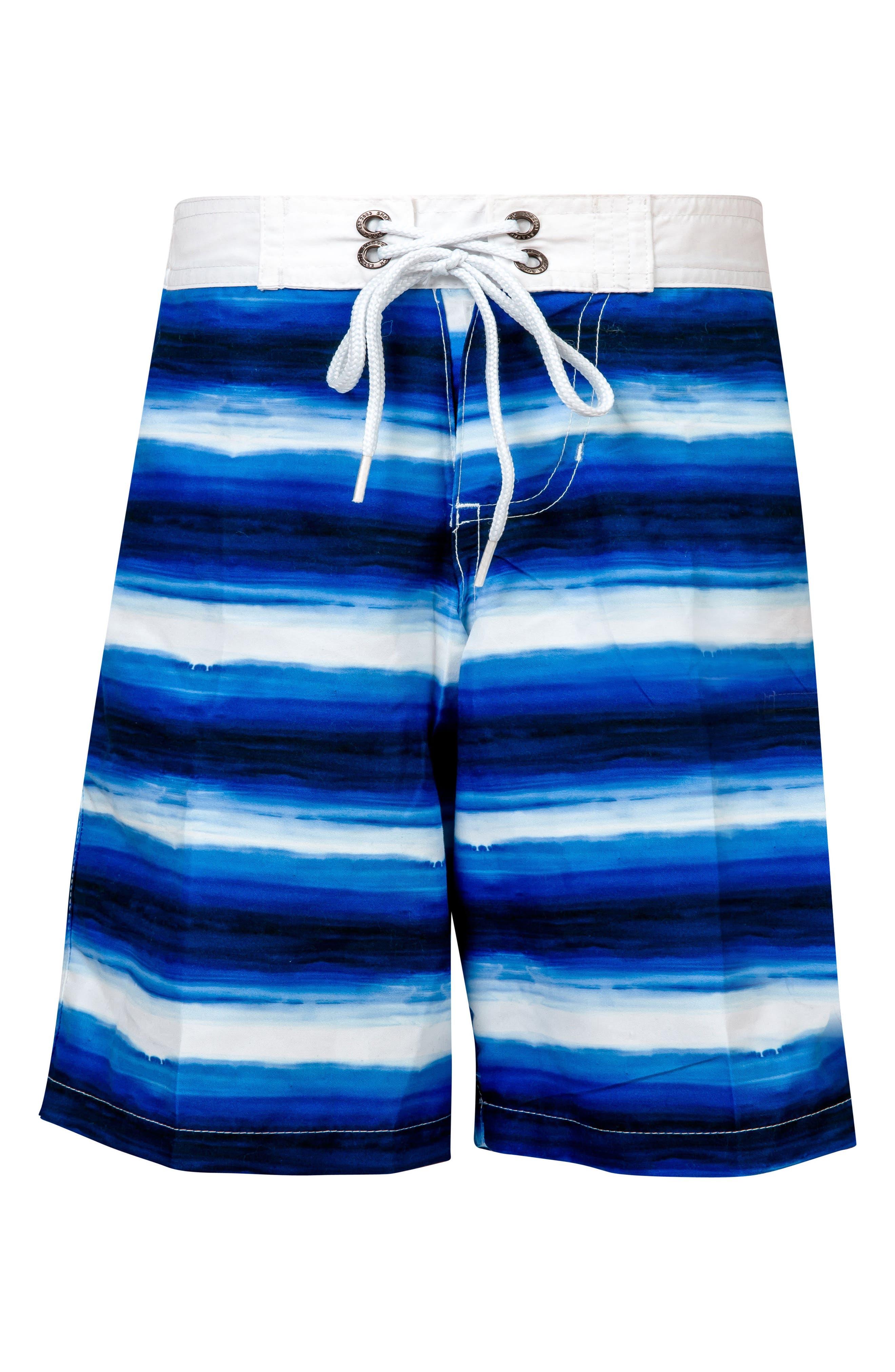 Ombré Stripe Board Shorts,                         Main,                         color, BLUES