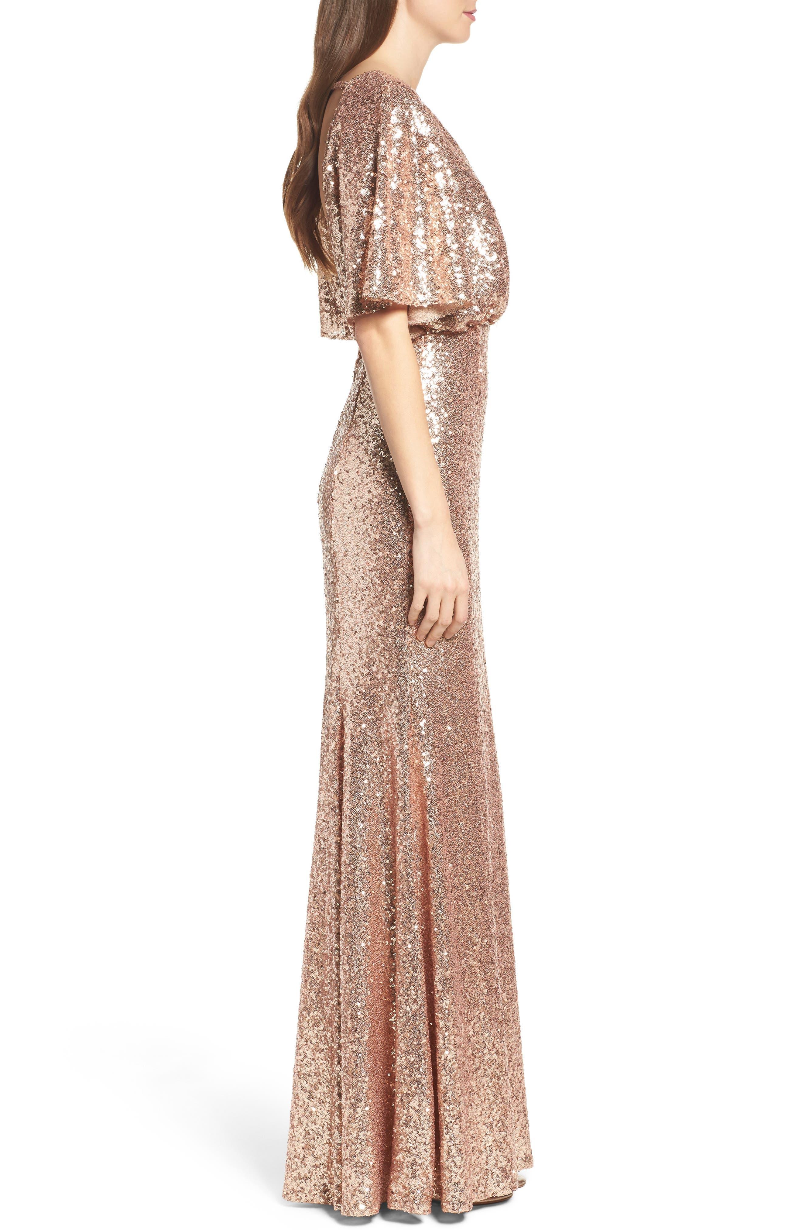 Elson Sequin Blouson Gown,                             Alternate thumbnail 3, color,                             650