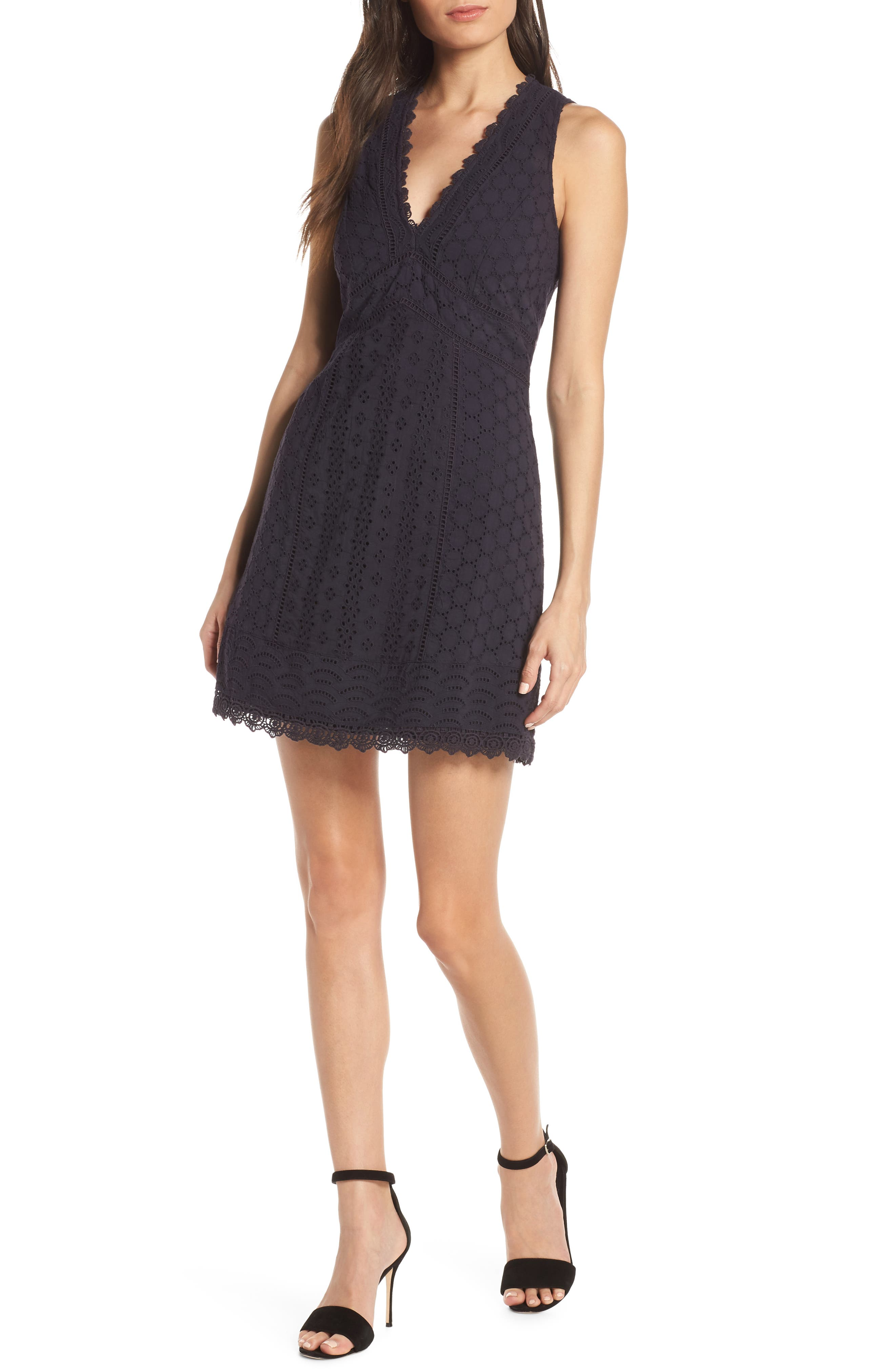 French Connection Zahara Eyelet & Lace A-Line Dress, Blue