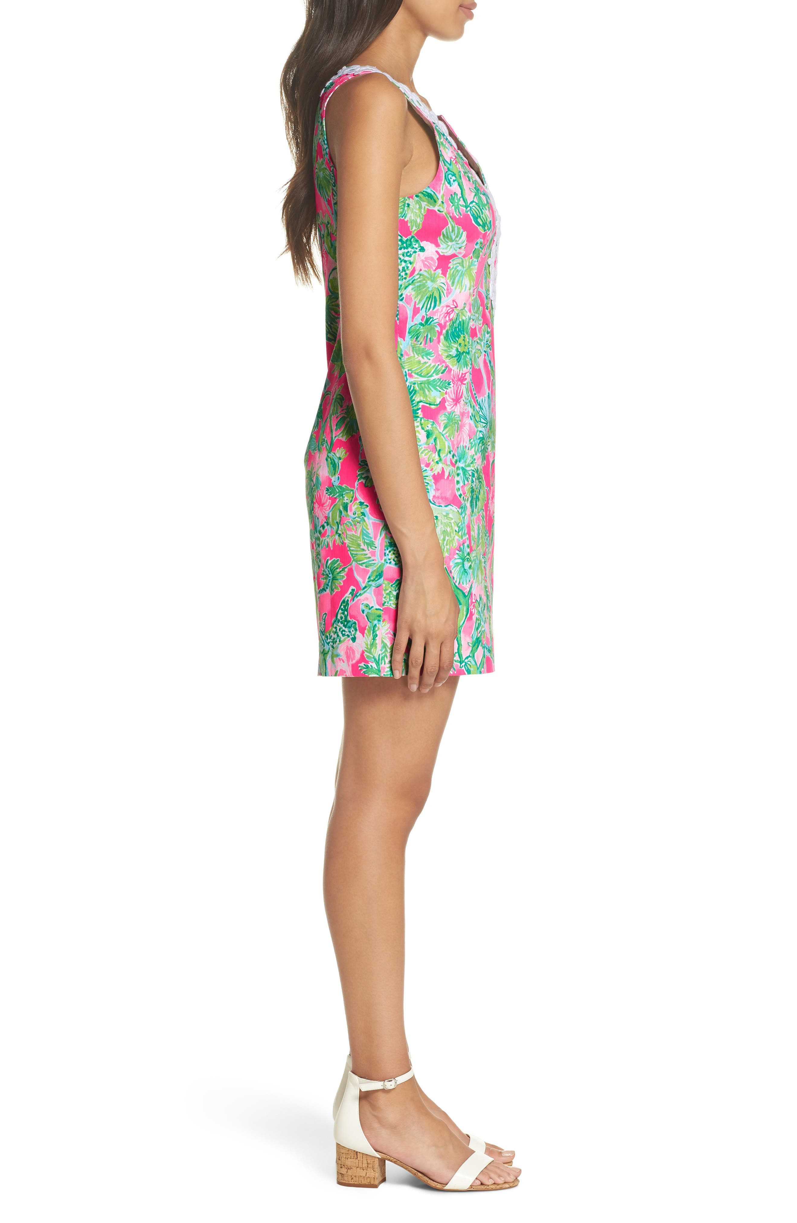 Gabby Tropical Print Dress,                             Alternate thumbnail 3, color,                             RAZ BERRY CATTY SHACK