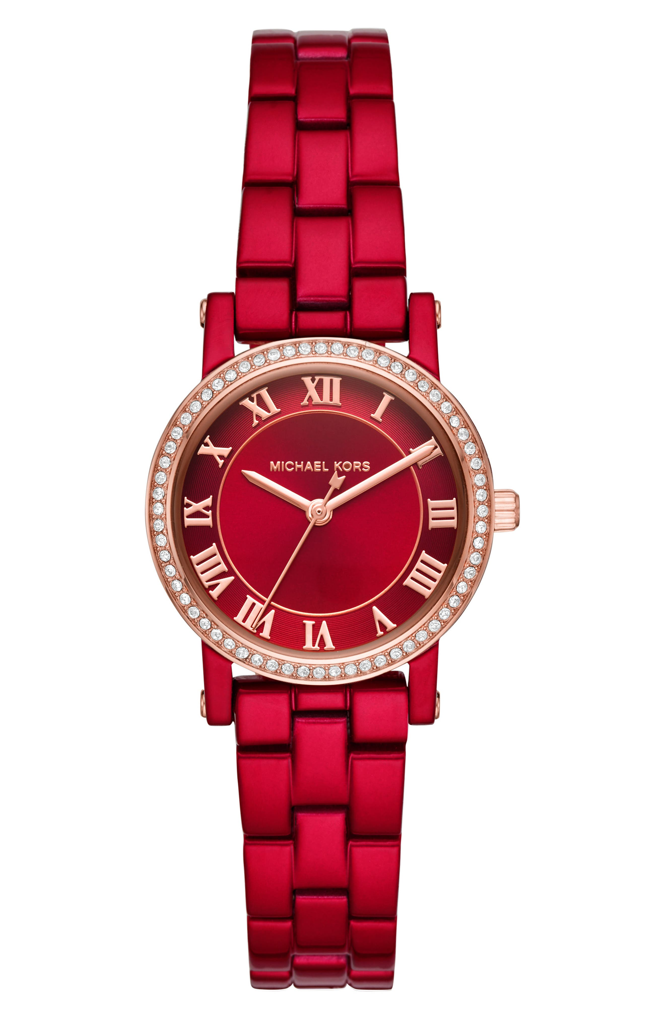 Norie Crystal Coated Stainless Steel Watch in Red