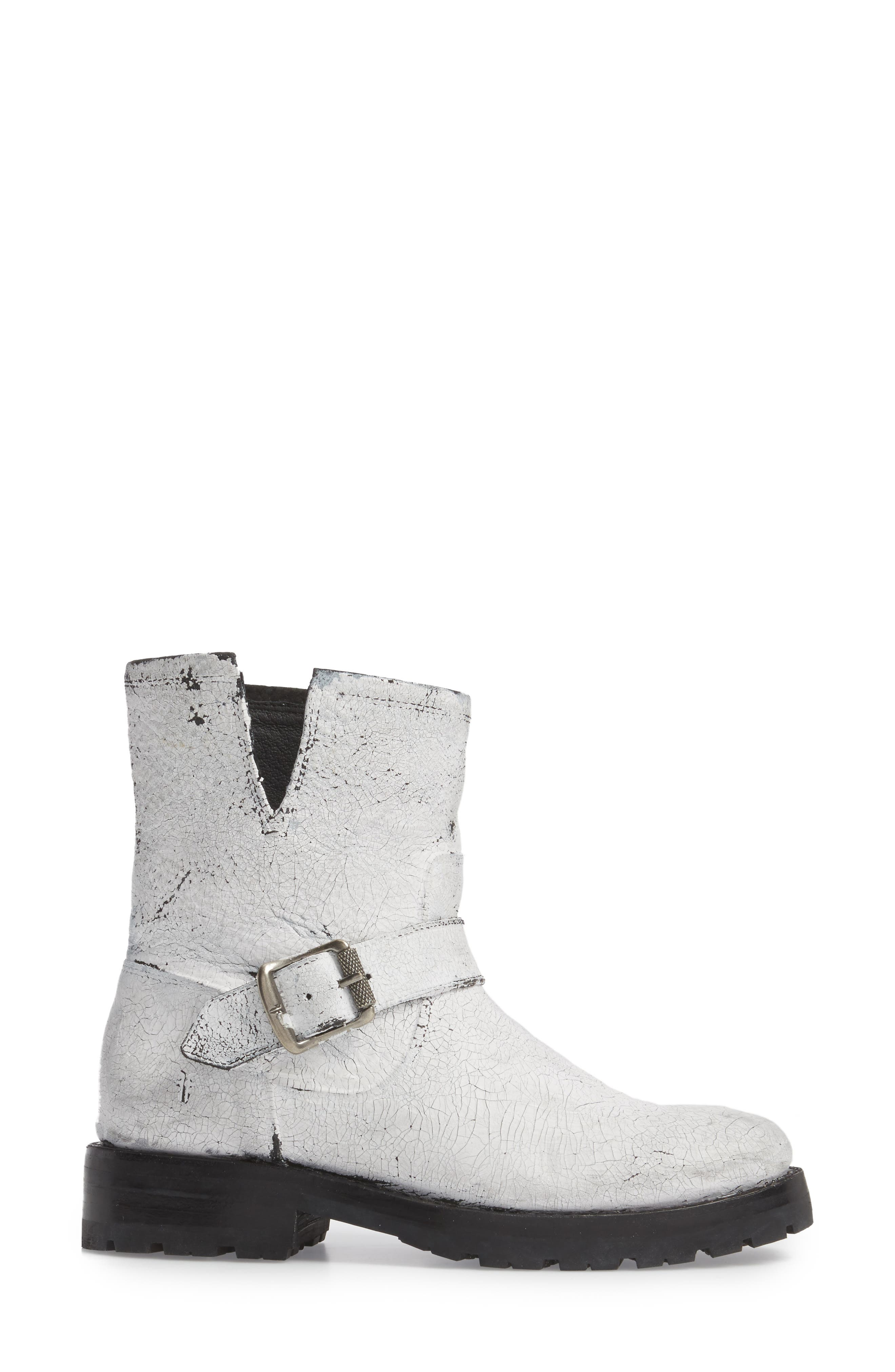Natalie Engineer Boot,                             Alternate thumbnail 3, color,                             WHITE LEATHER