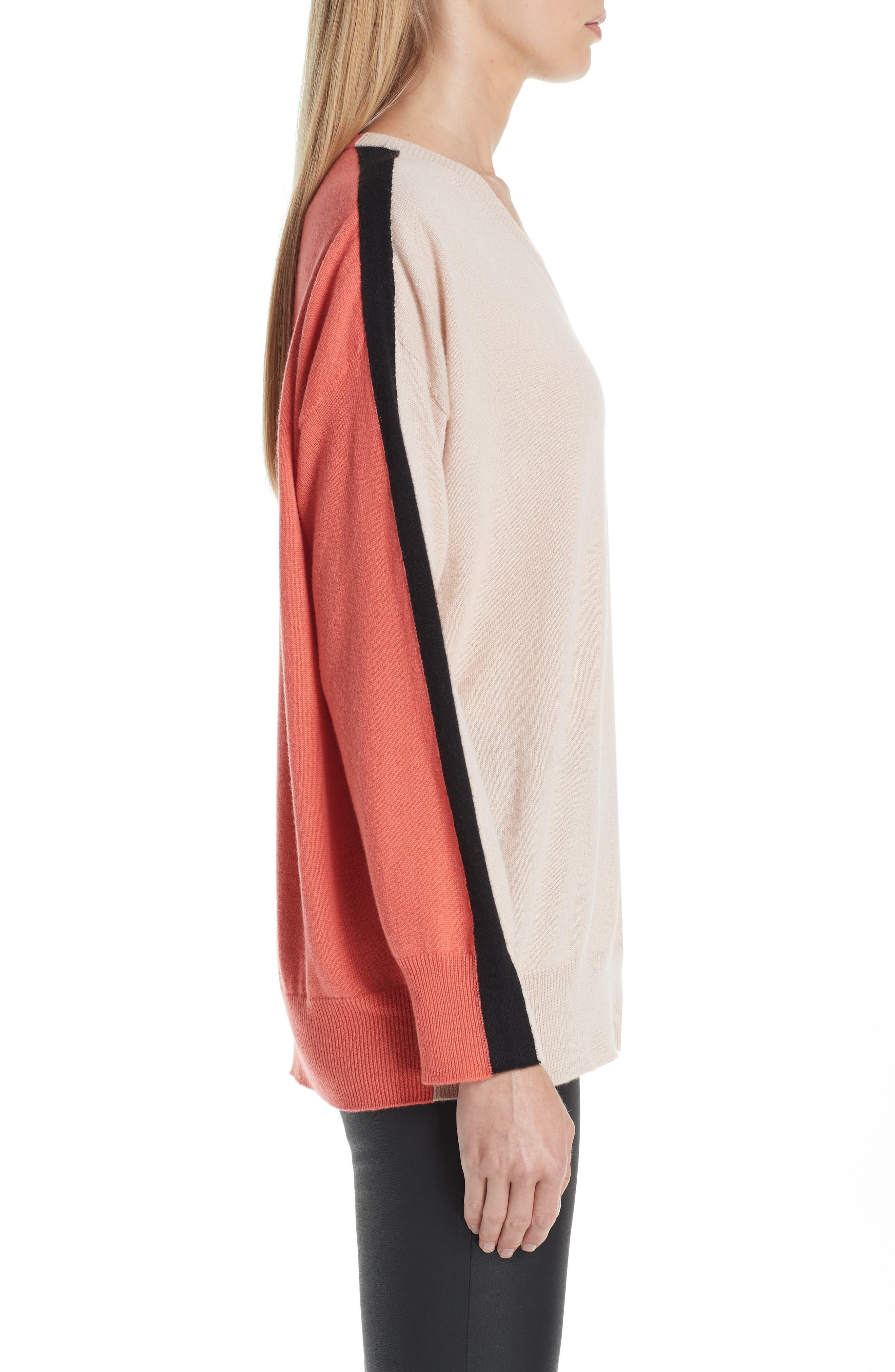 Stripe V-Neck Cashmere Sweater,                             Alternate thumbnail 3, color,                             ROSA NATURALE
