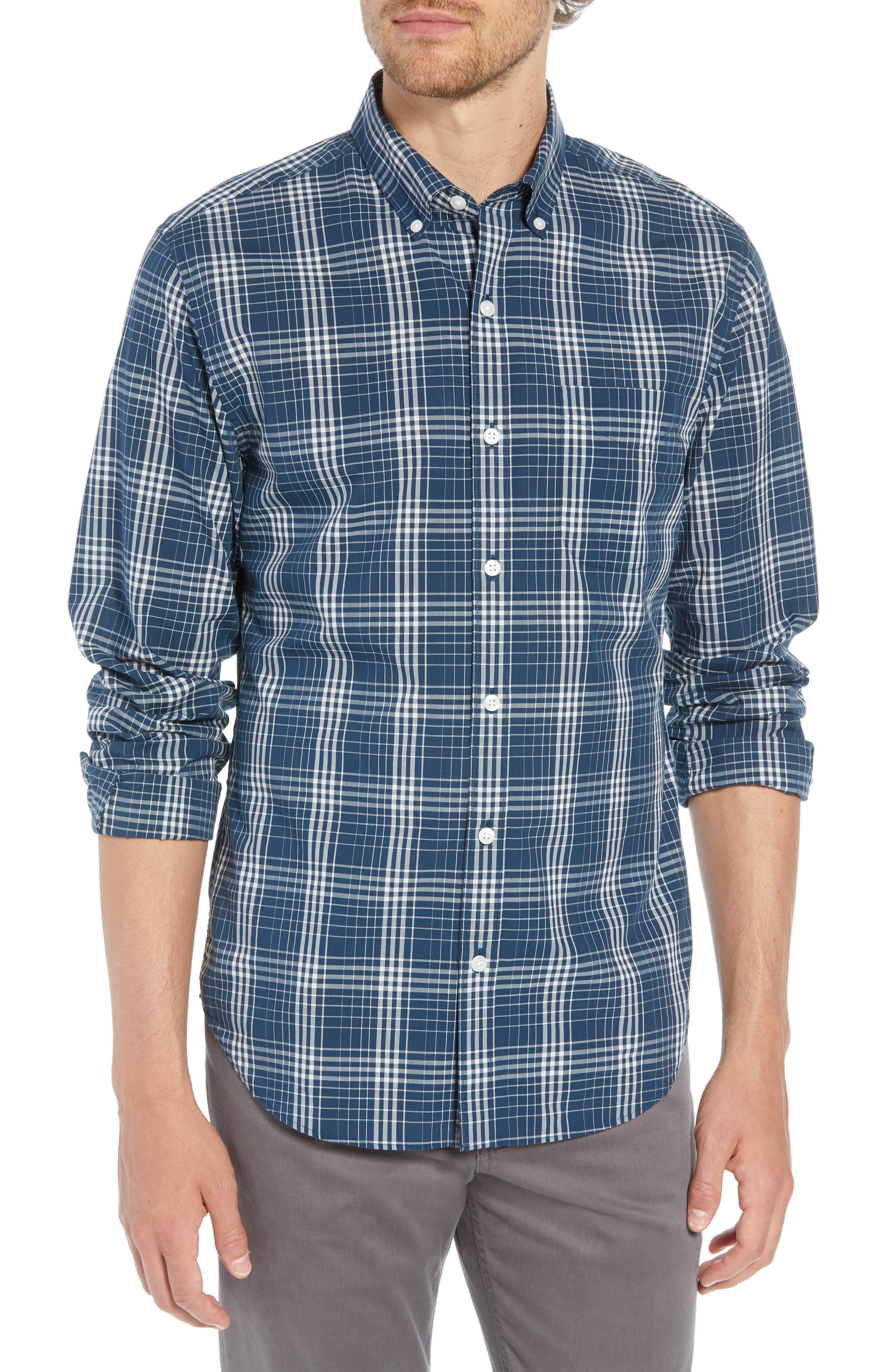 Summerweight Slim Fit Plaid Sport Shirt,                         Main,                         color, 400