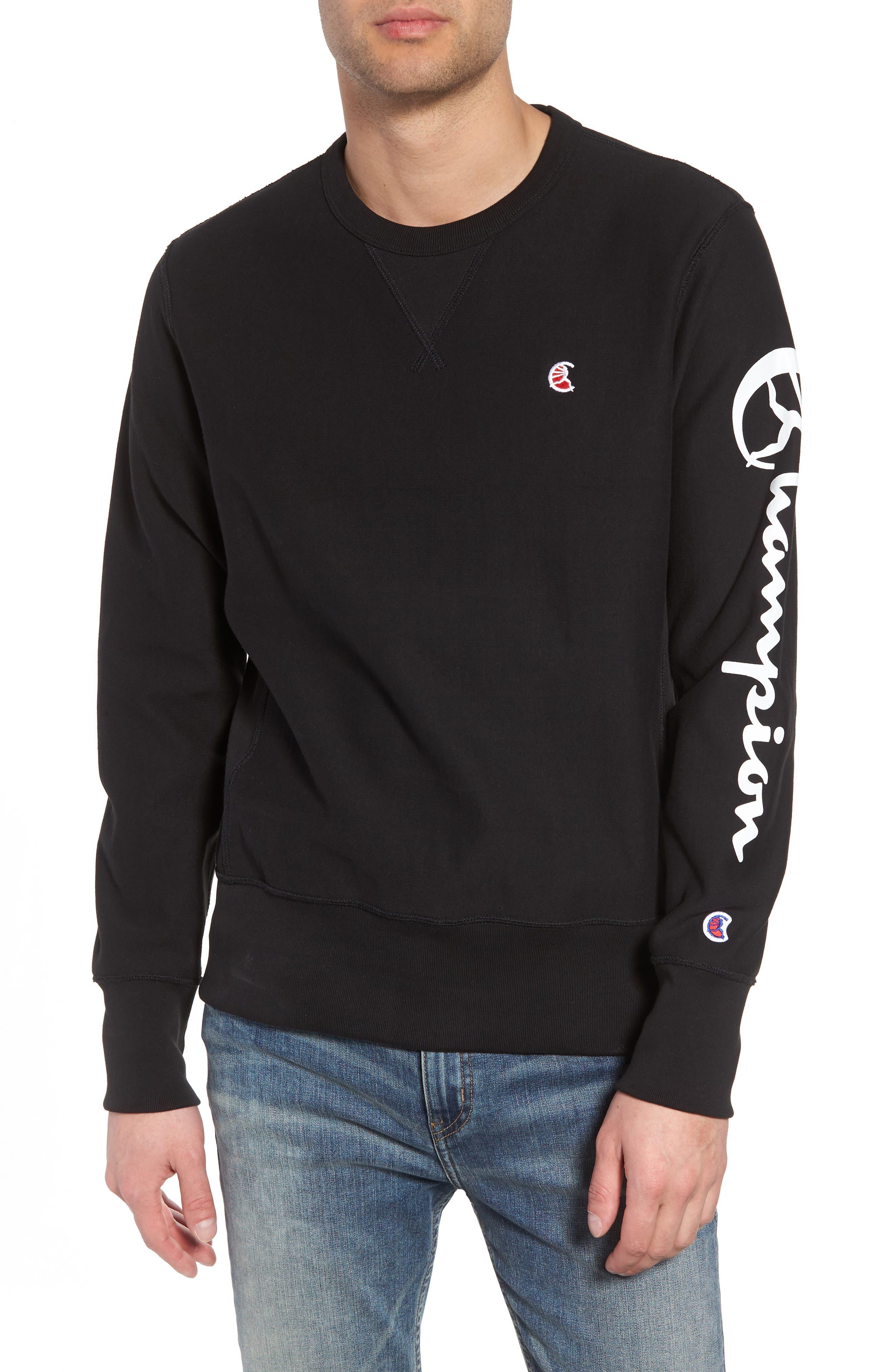 + Champion Graphic Sleeve Sweatshirt,                         Main,                         color, 001