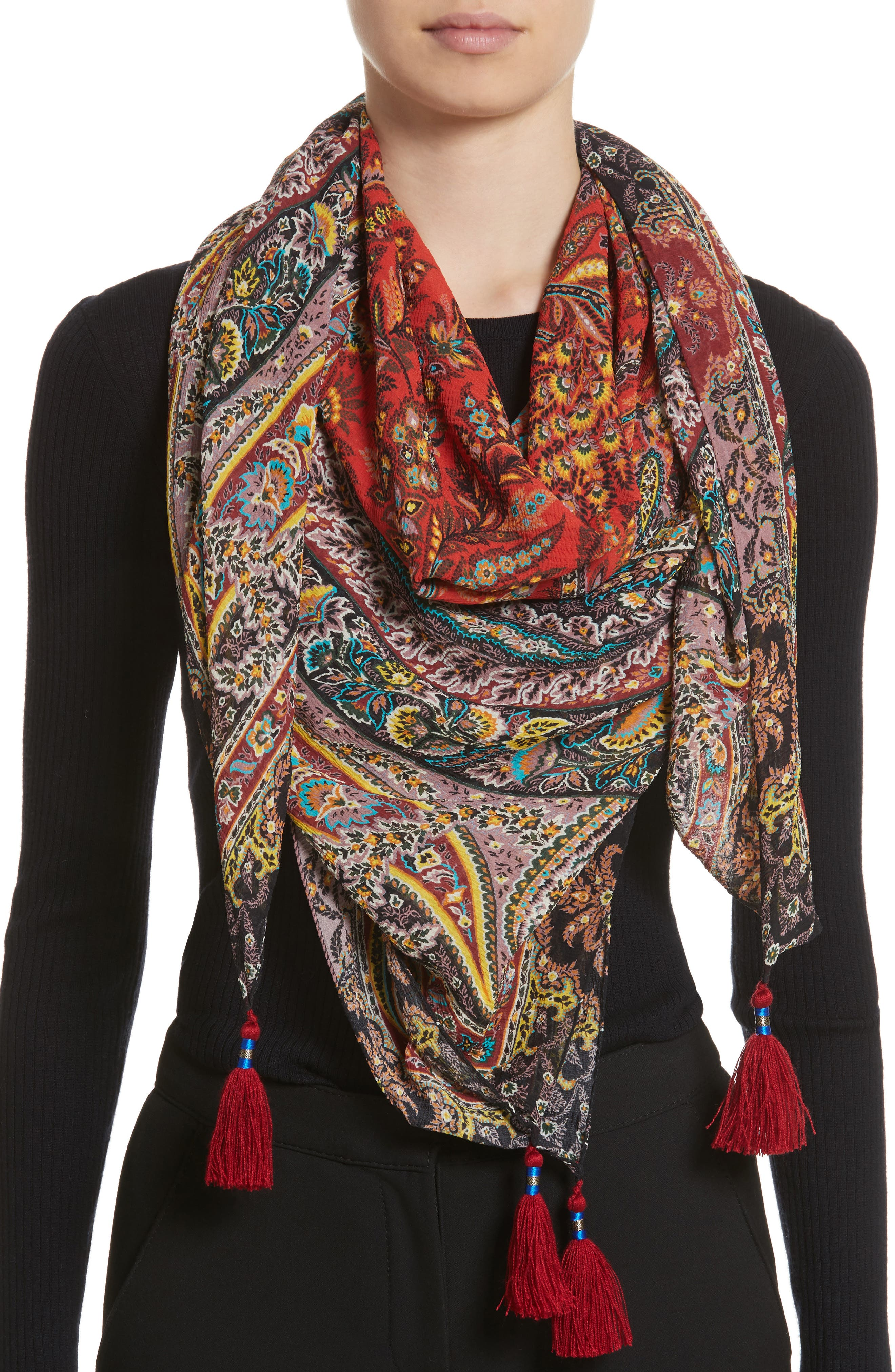 Fern Paisley Tassel Silk Square Scarf,                             Alternate thumbnail 2, color,                             RED MULTI