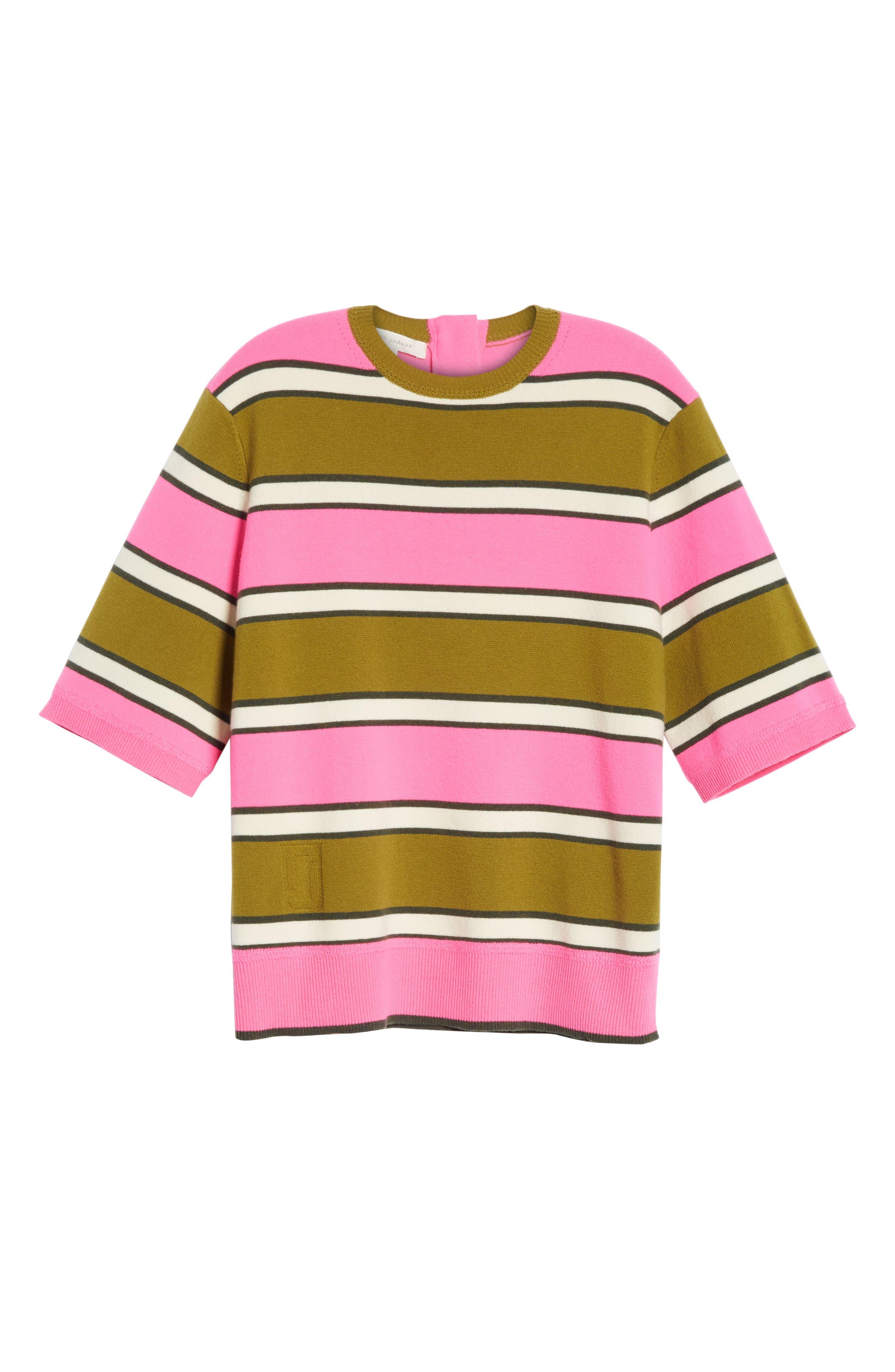 Oversize Stripe Cashmere Sweater,                             Alternate thumbnail 6, color,                             651