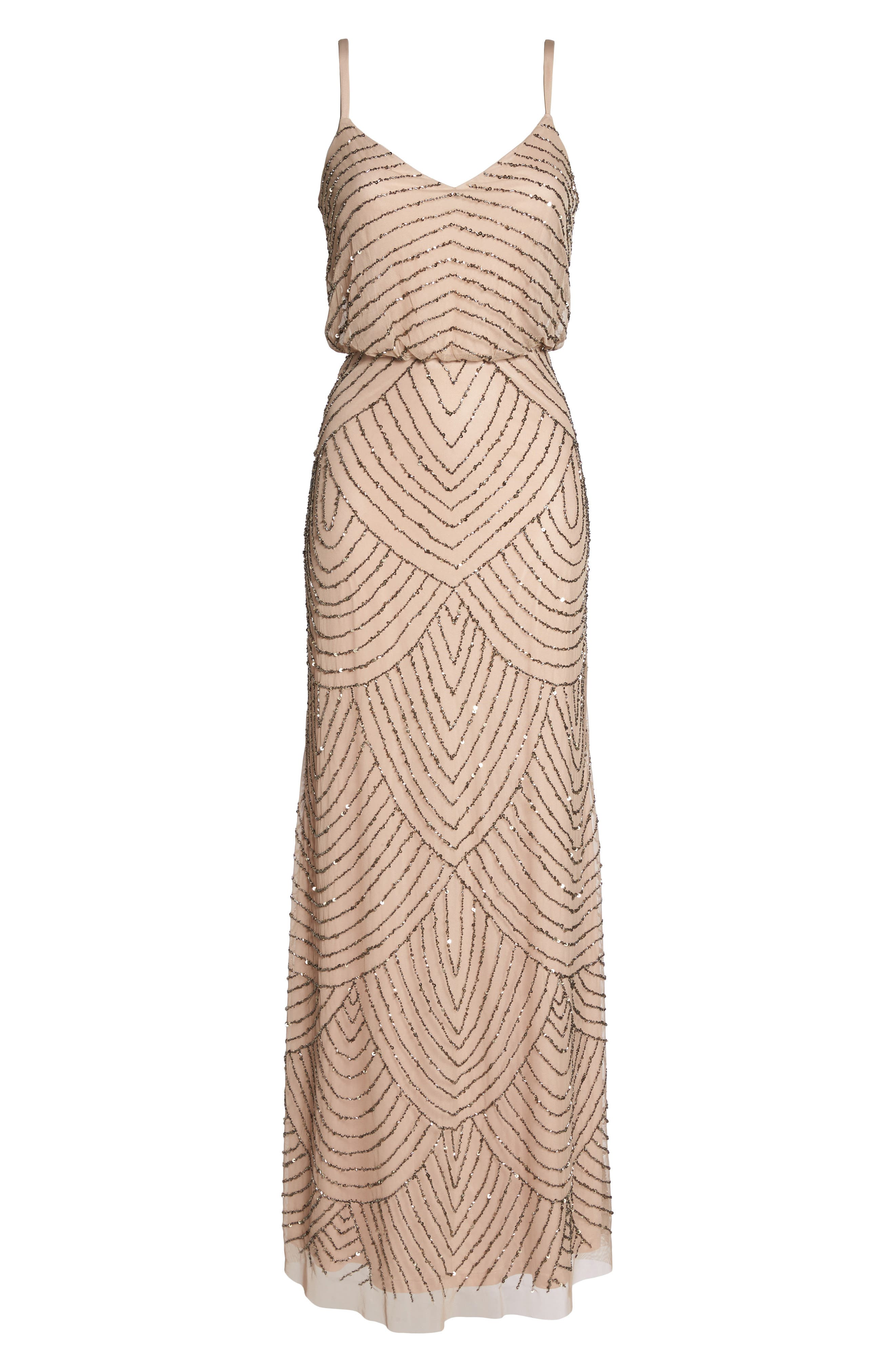 Embellished Blouson Gown,                             Alternate thumbnail 7, color,                             SILVER/ NUDE