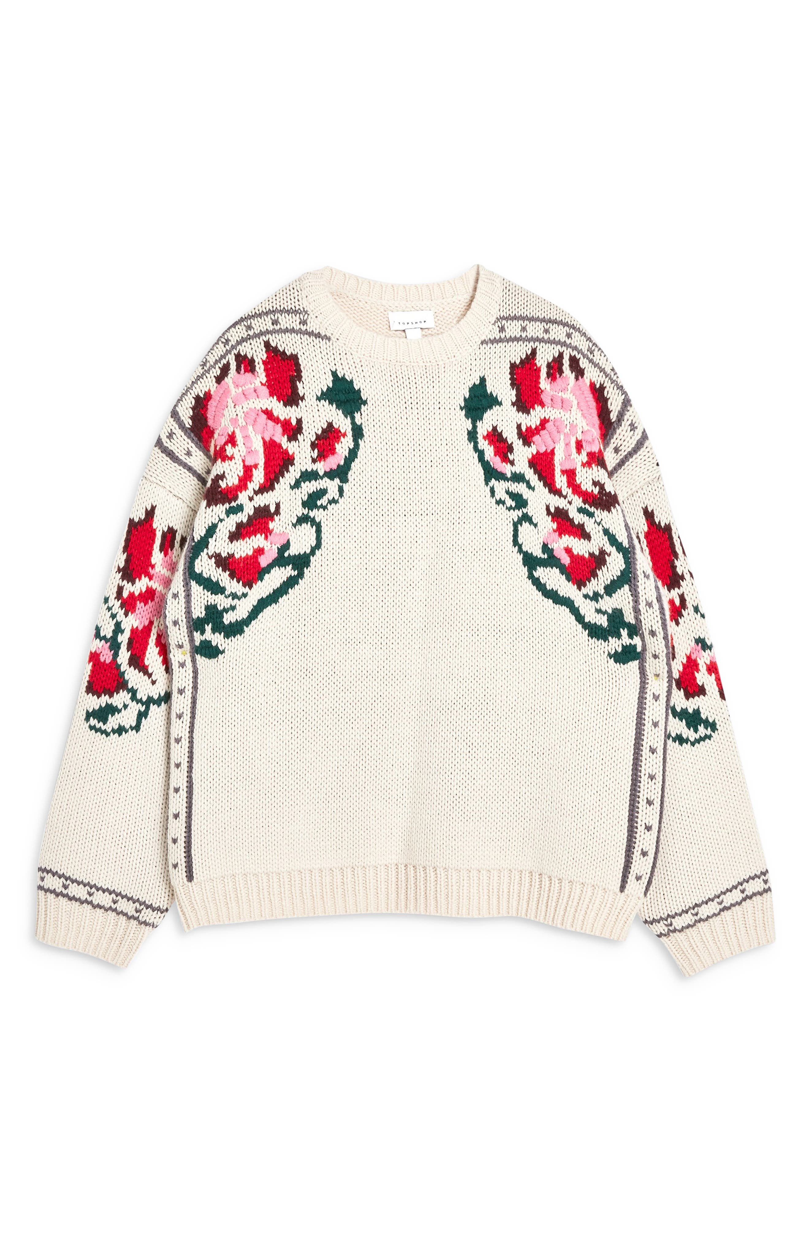 Floral Border Embroidered Sweater,                             Alternate thumbnail 4, color,                             IVORY MULTI