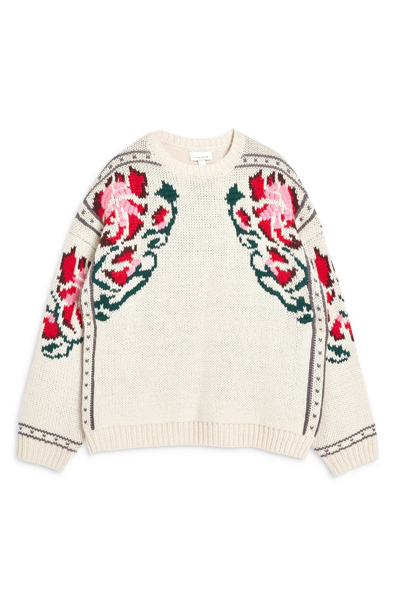 Floral Border Embroidered Sweater,                        Alternate,                         color, IVORY MULTI
