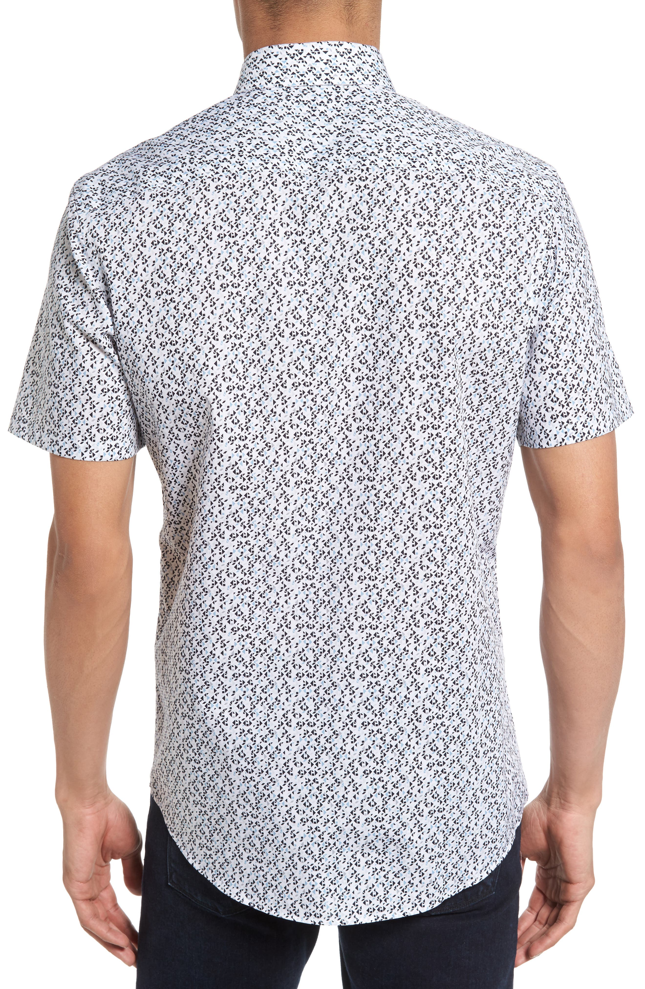 No-Iron Geo Print Woven Shirt,                             Alternate thumbnail 2, color,                             030