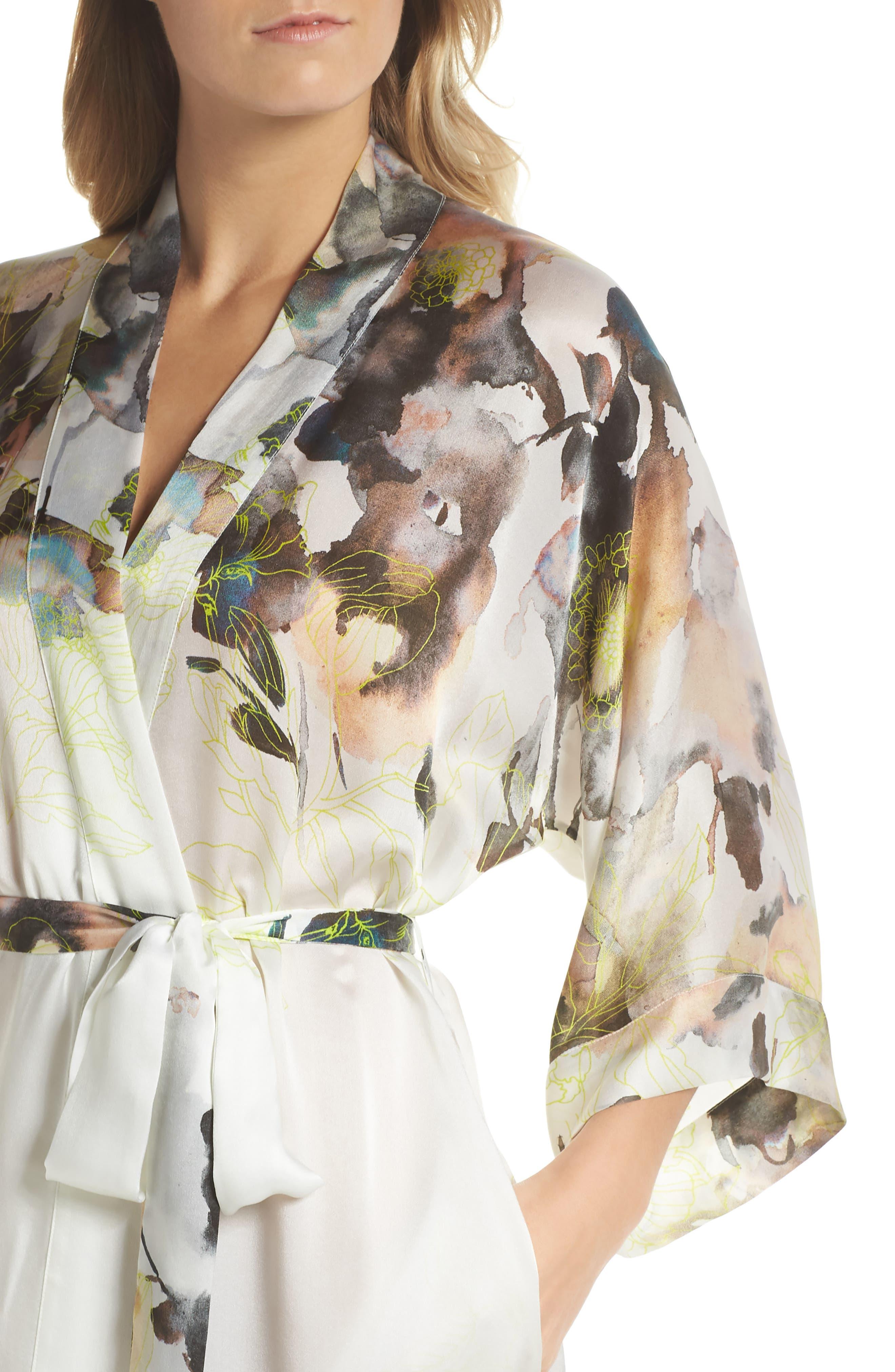 Floral Print Silk Robe,                             Alternate thumbnail 4, color,                             LIMELIGHT PRINT
