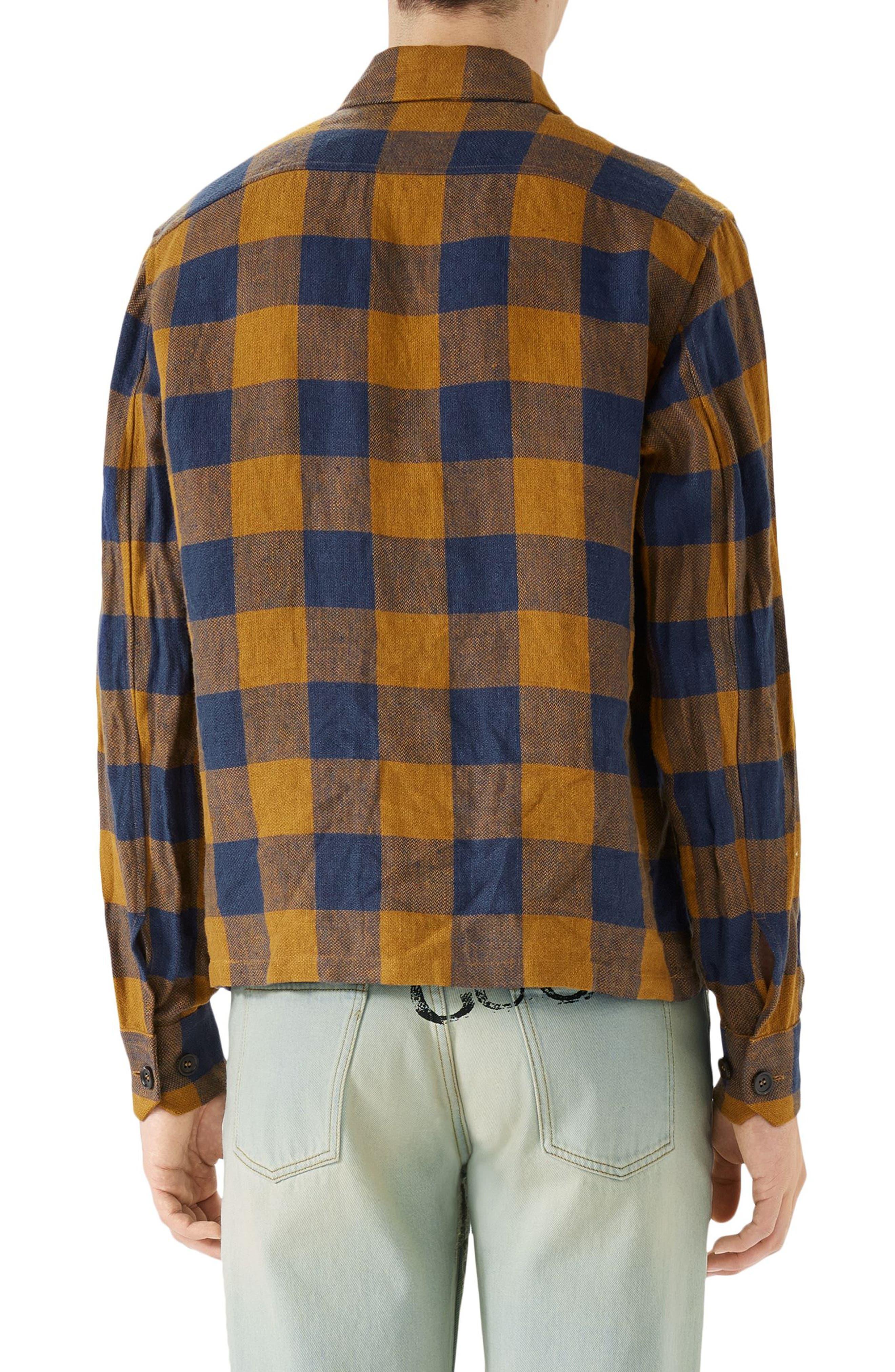Macro Gingham Panther Appliqué Linen Shirt Jacket,                             Alternate thumbnail 2, color,                             ORANGE