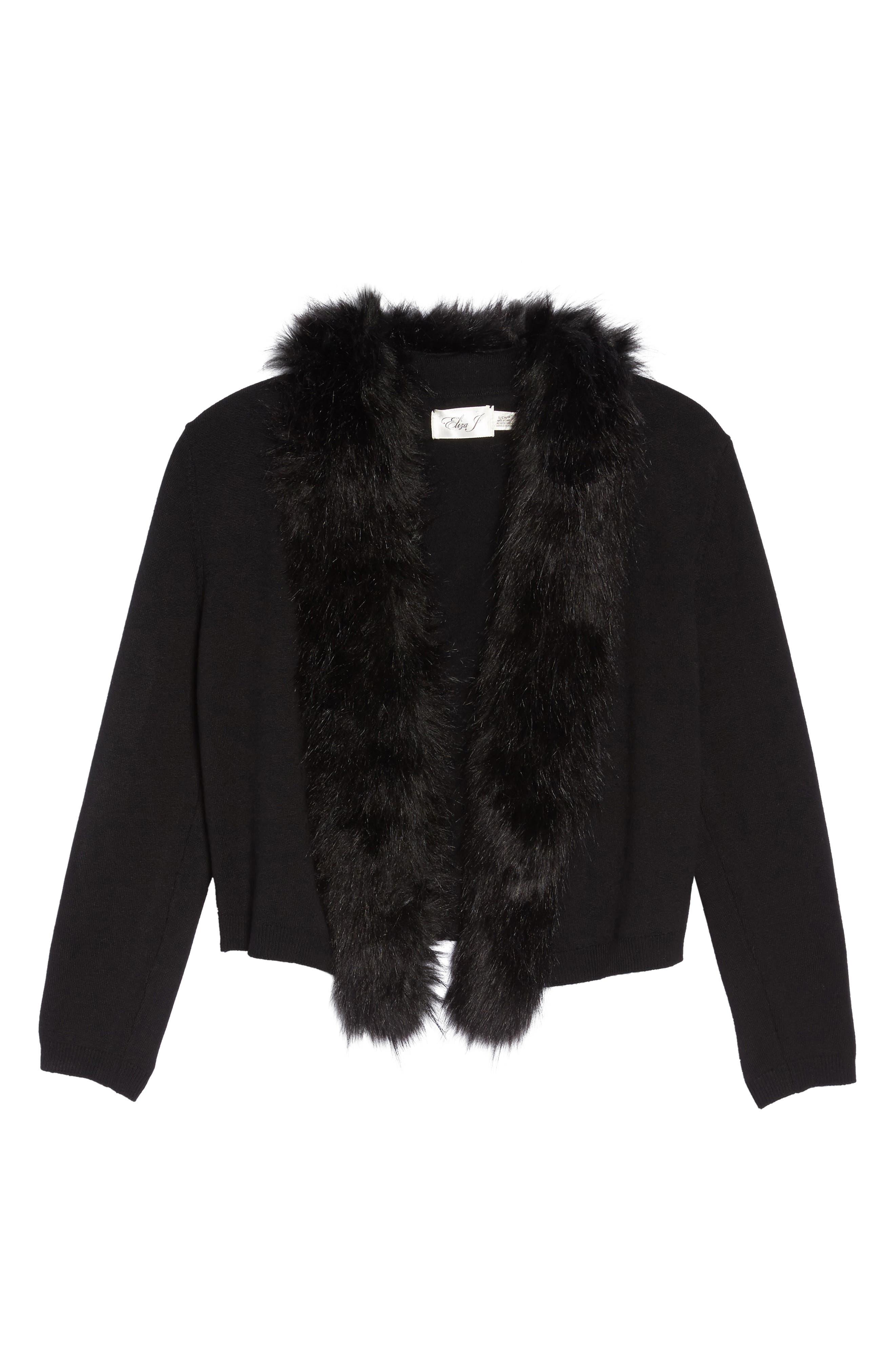 Faux Fur Trim Cardigan,                             Alternate thumbnail 7, color,                             BLACK