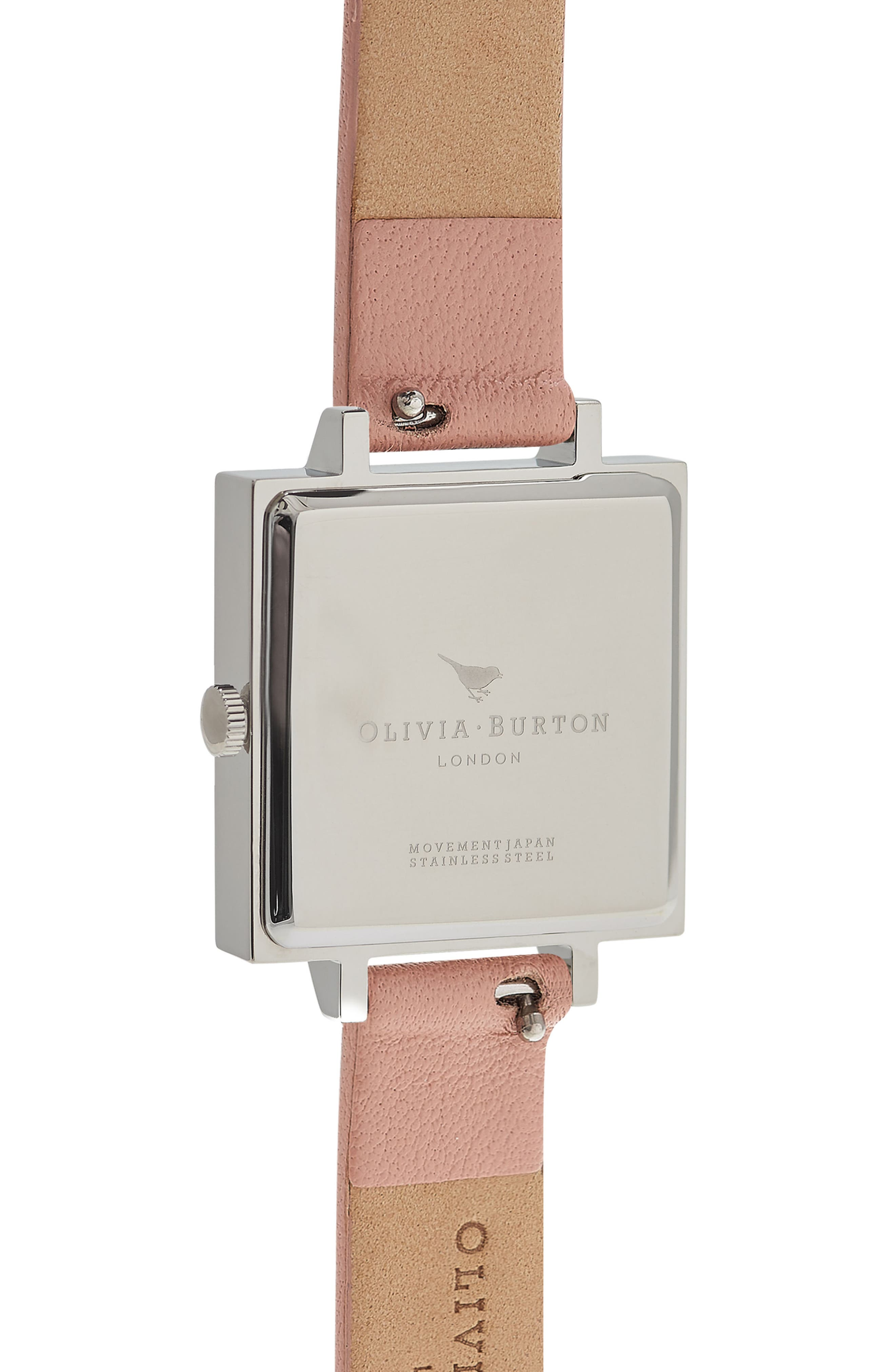 Square Leather Strap Watch, 23mm,                             Alternate thumbnail 9, color,