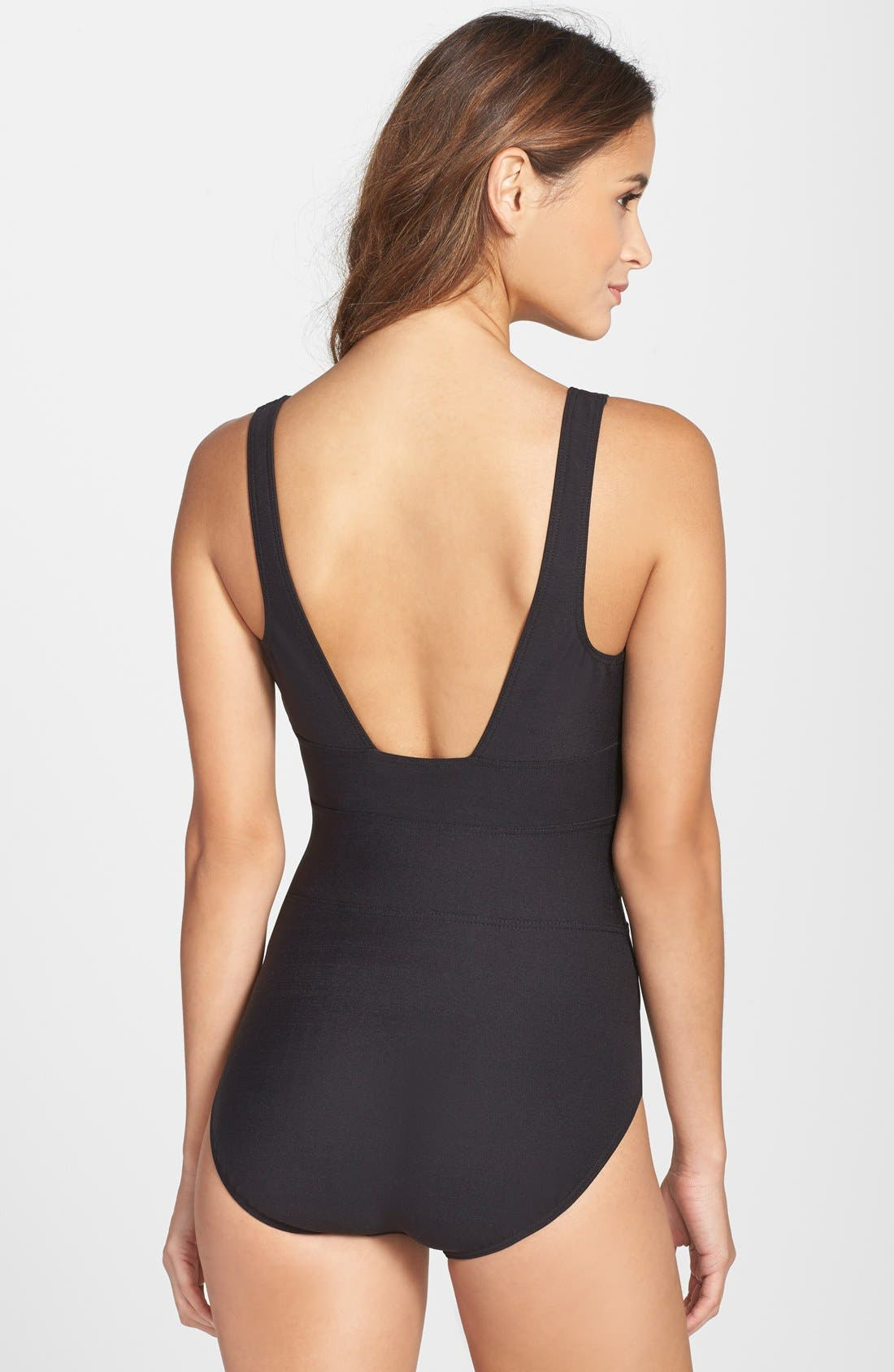 MIRACLESUIT<SUP>®</SUP>,                             'Spectra' Banded Maillot,                             Alternate thumbnail 8, color,                             BLACK TONES