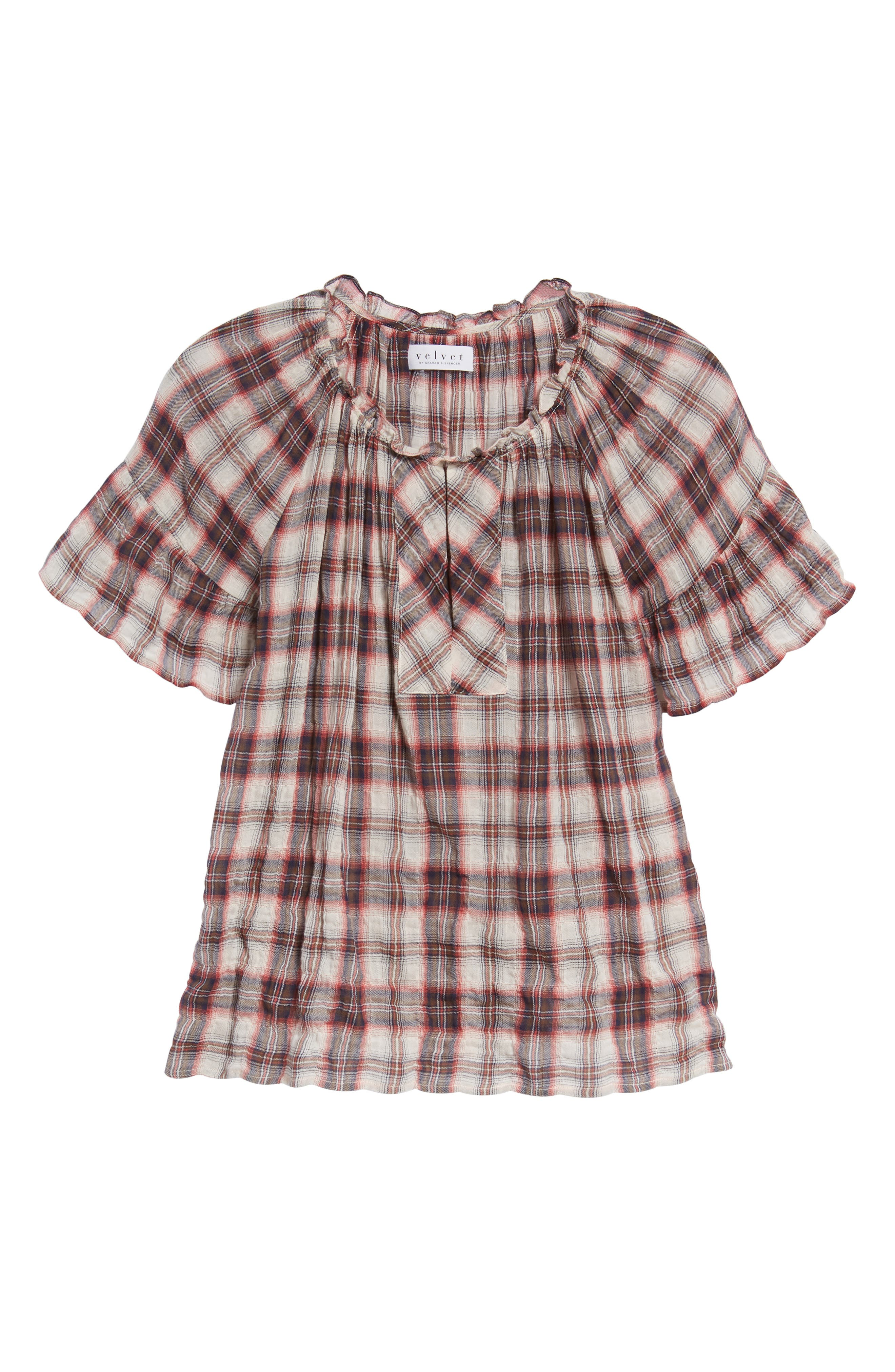 Flutter Sleeve Plaid Top,                             Alternate thumbnail 6, color,                             623