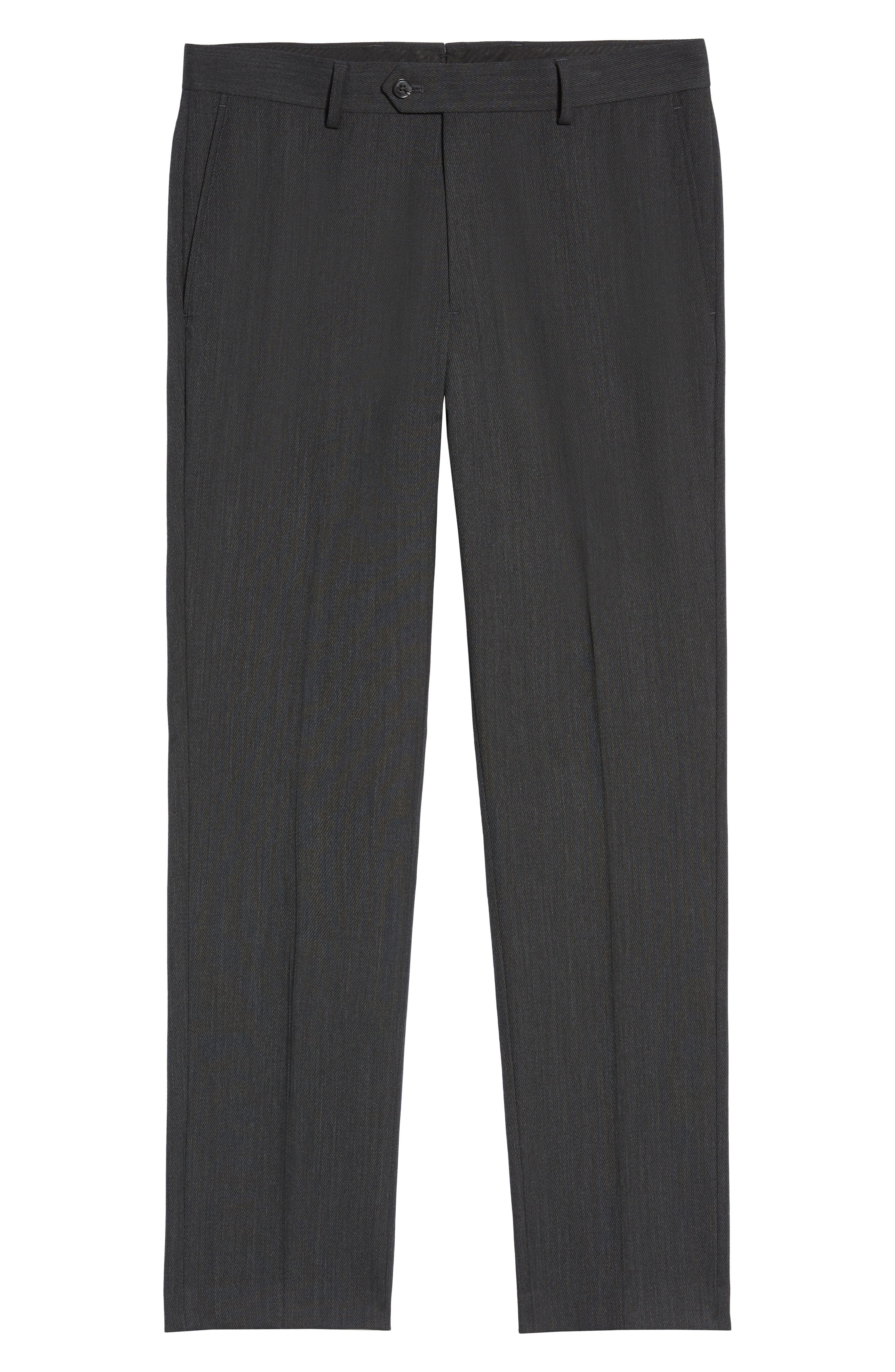 Trim Fit Flat Front Wool Blend Pants,                             Alternate thumbnail 6, color,                             021