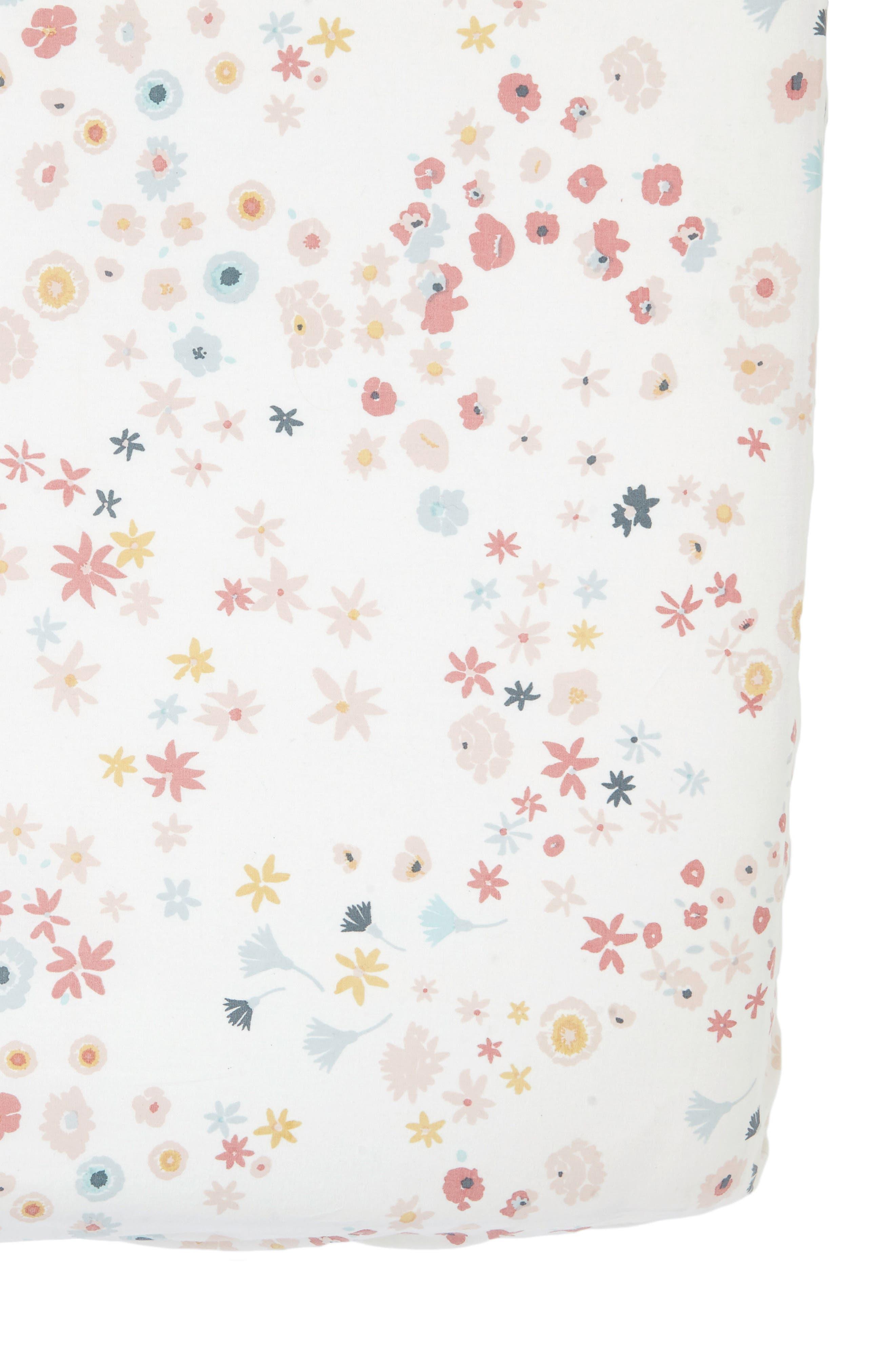 Meadow Crib Sheet,                             Main thumbnail 1, color,                             PINK