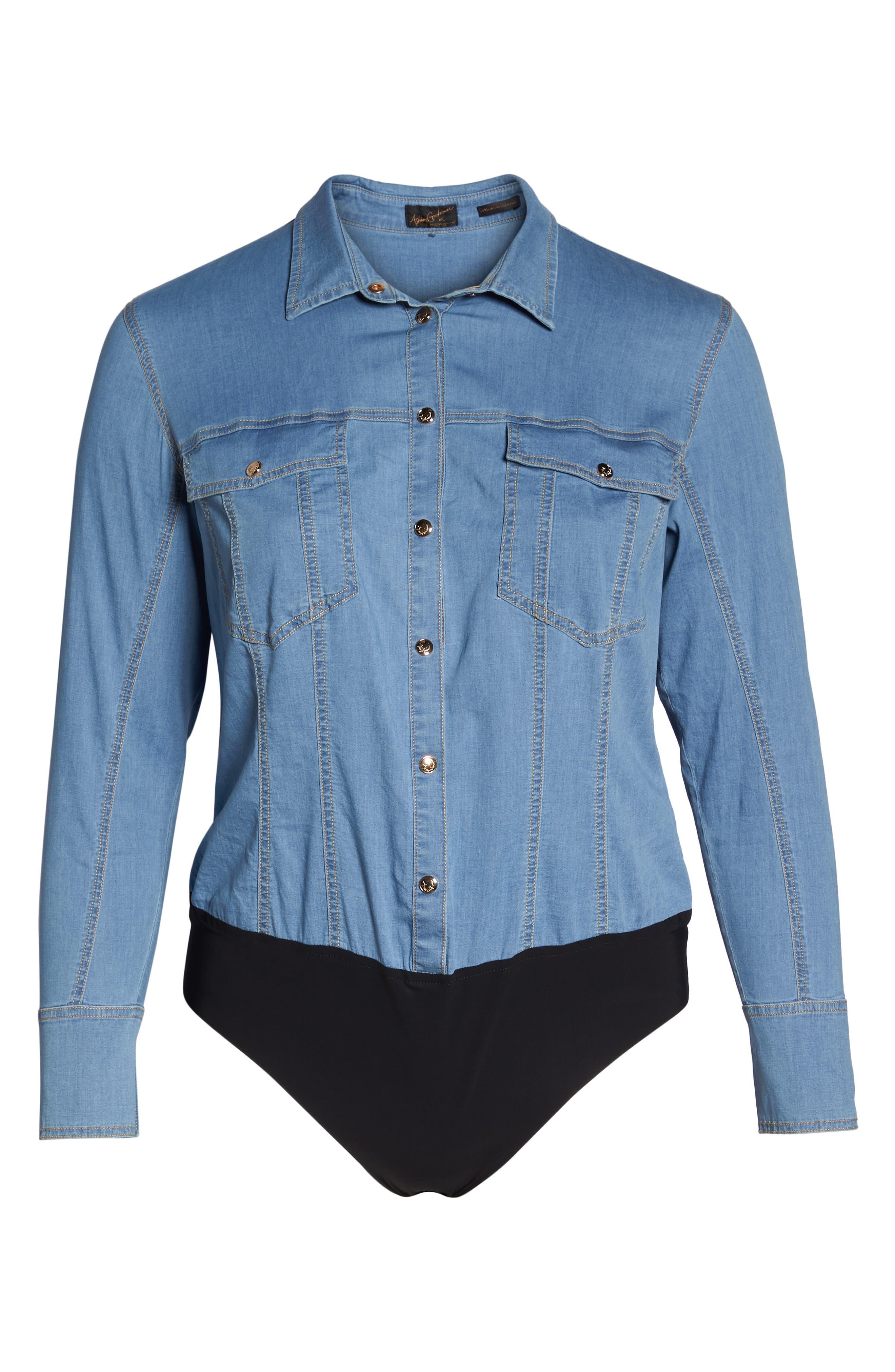 Bangkok Denim Shirt Bodysuit,                             Alternate thumbnail 7, color,                             454