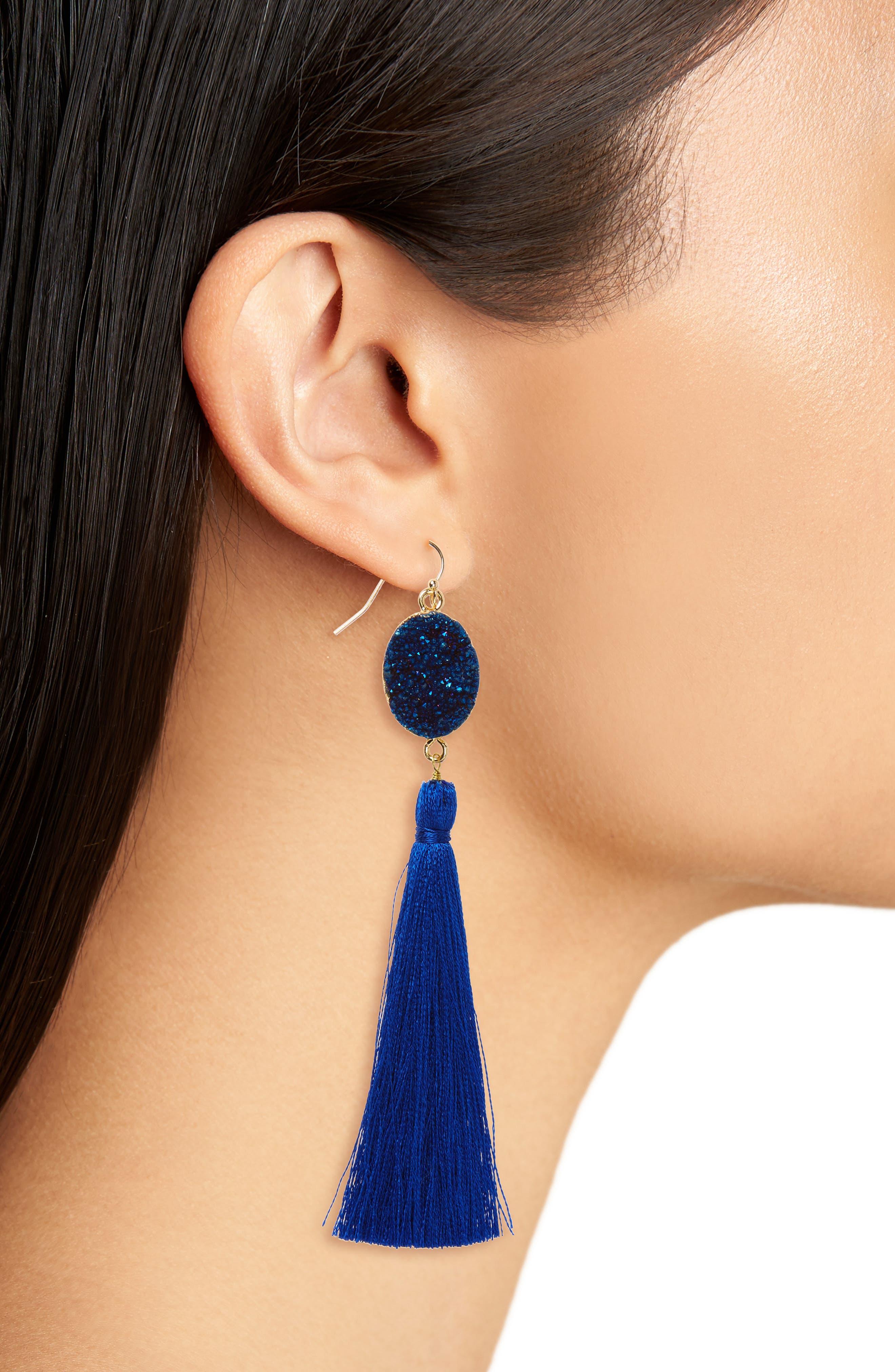 Drusy Tassel Earrings,                             Alternate thumbnail 2, color,