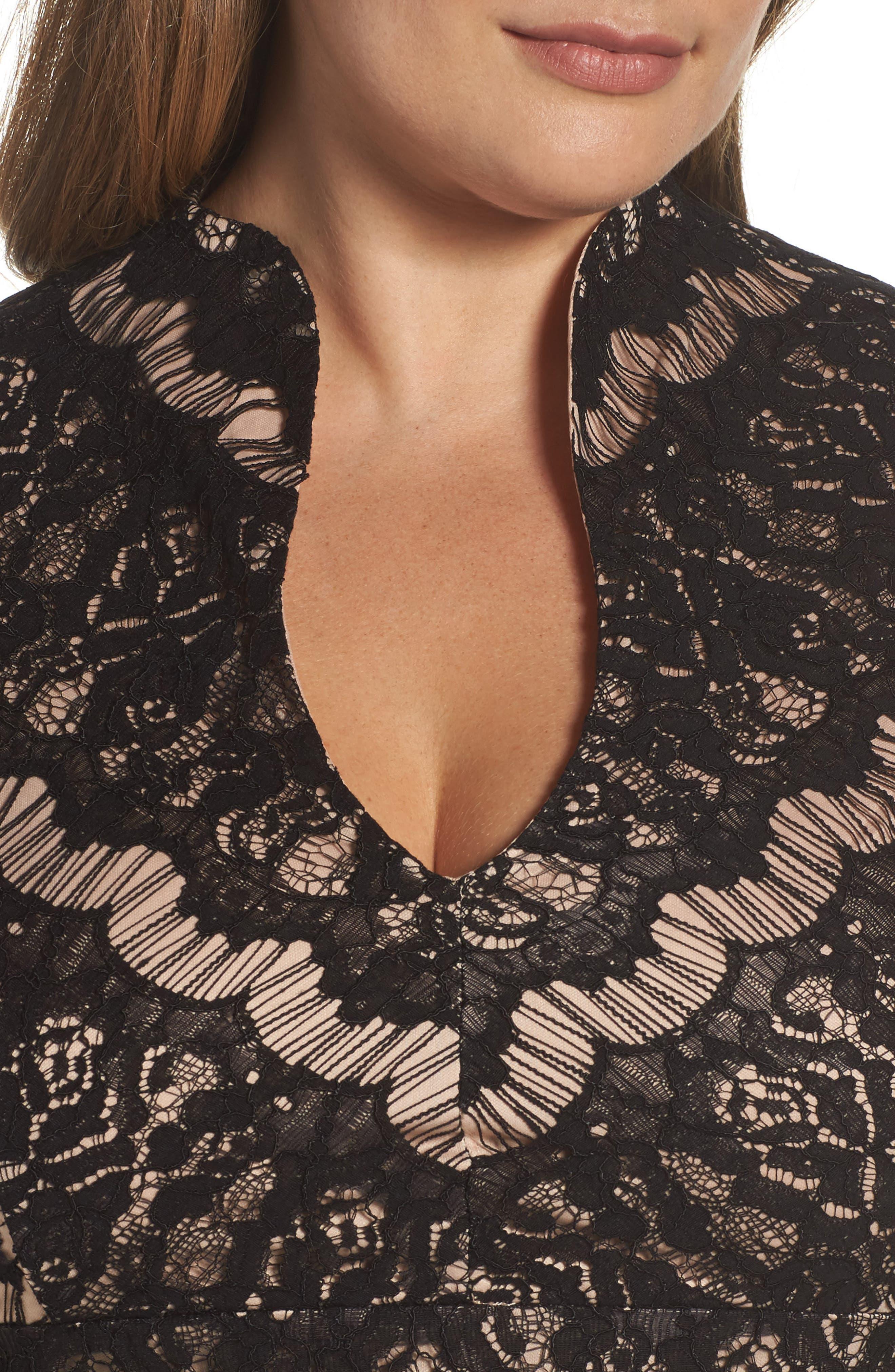 Lace Empire Gown,                             Alternate thumbnail 4, color,                             003