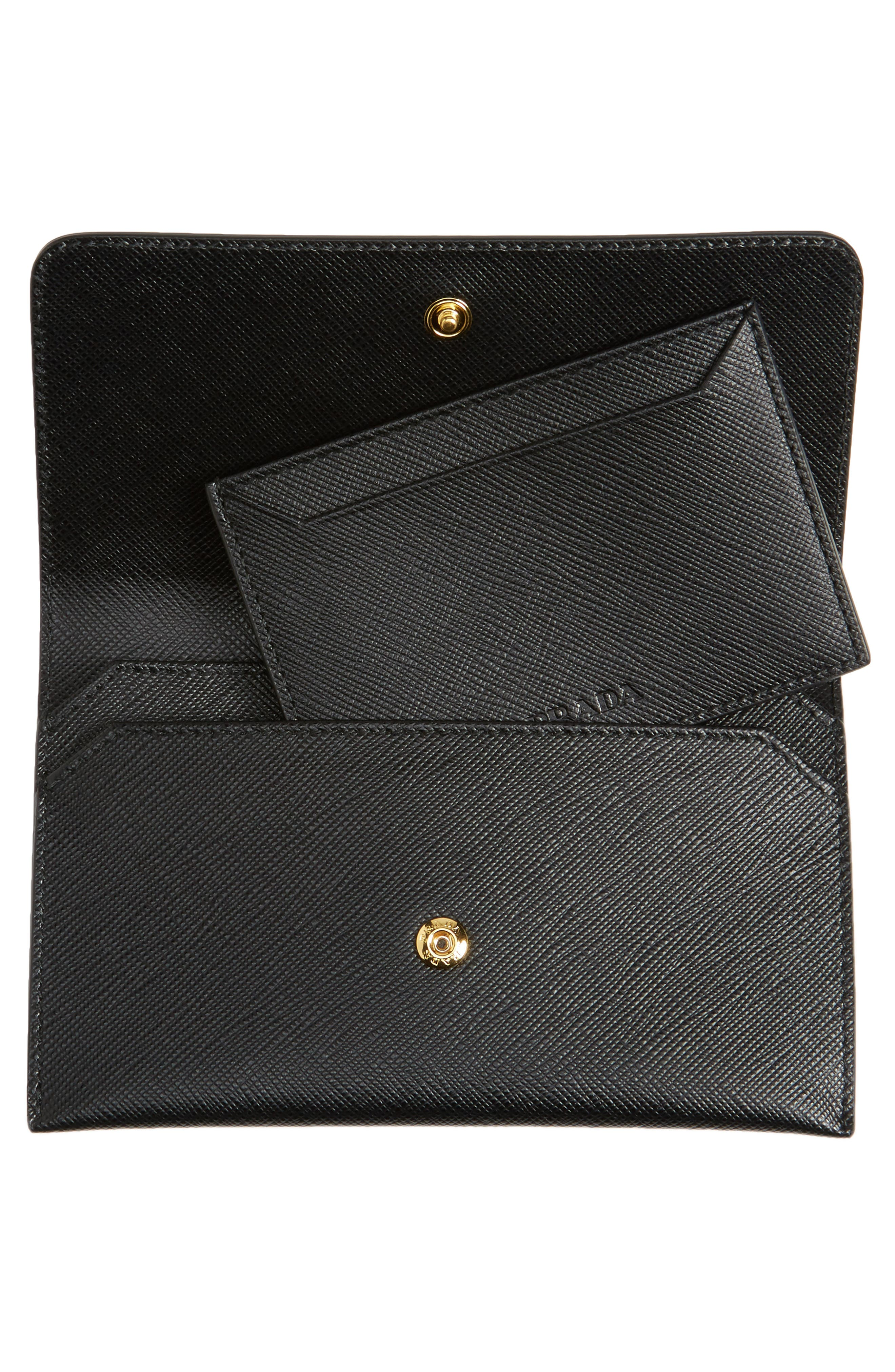 PRADA,                             Saffiano Leather Wallet,                             Alternate thumbnail 2, color,                             001