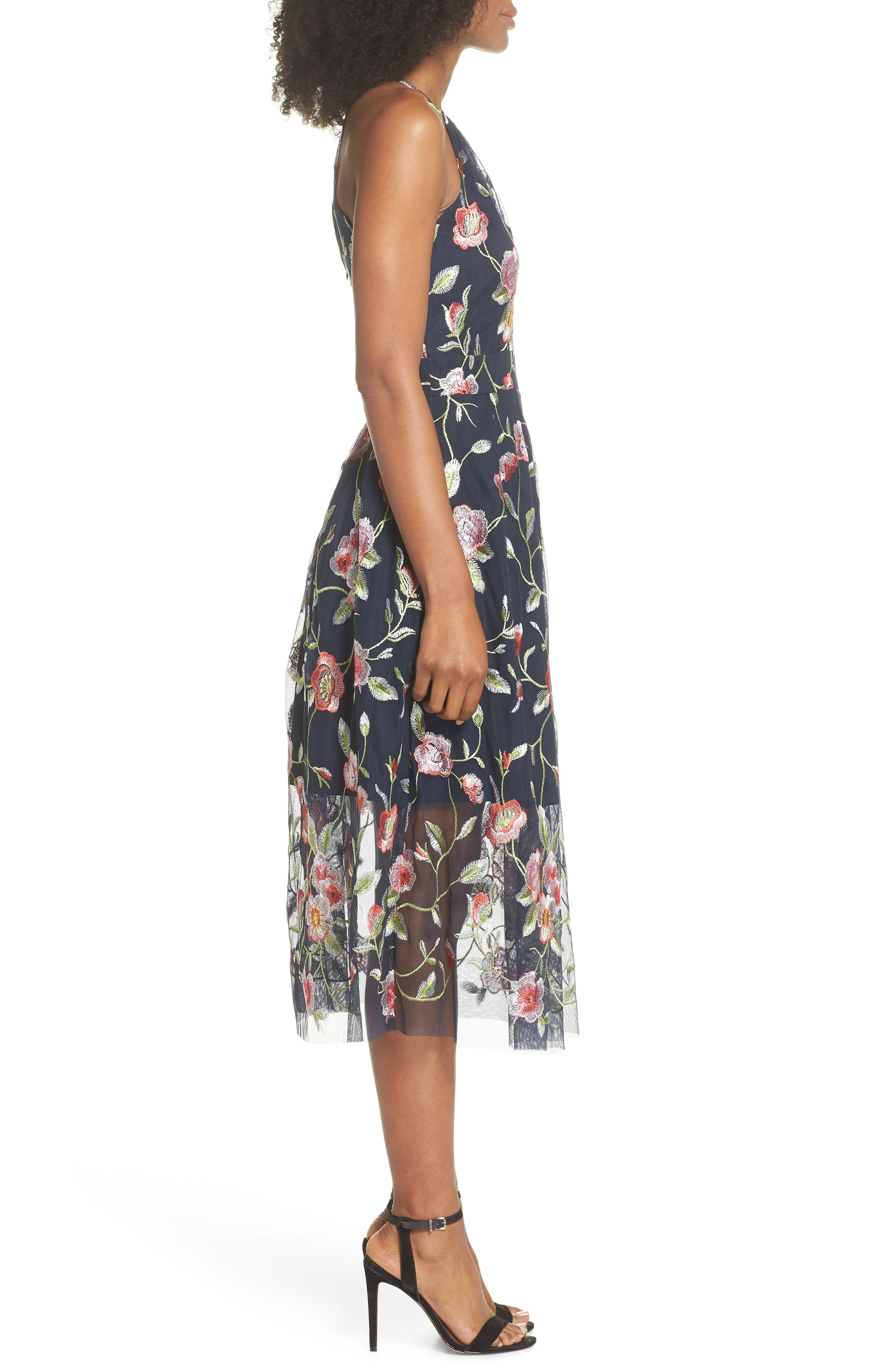 Embroidered Midi Dress,                             Alternate thumbnail 3, color,                             470