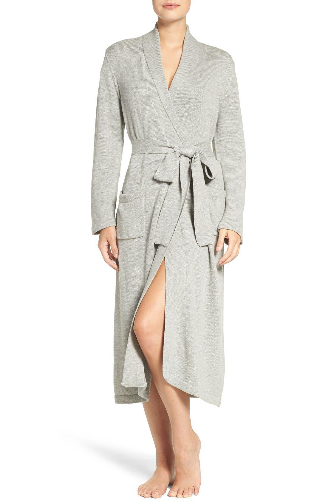 'Ballet' Knit Cotton Blend Robe,                             Main thumbnail 2, color,