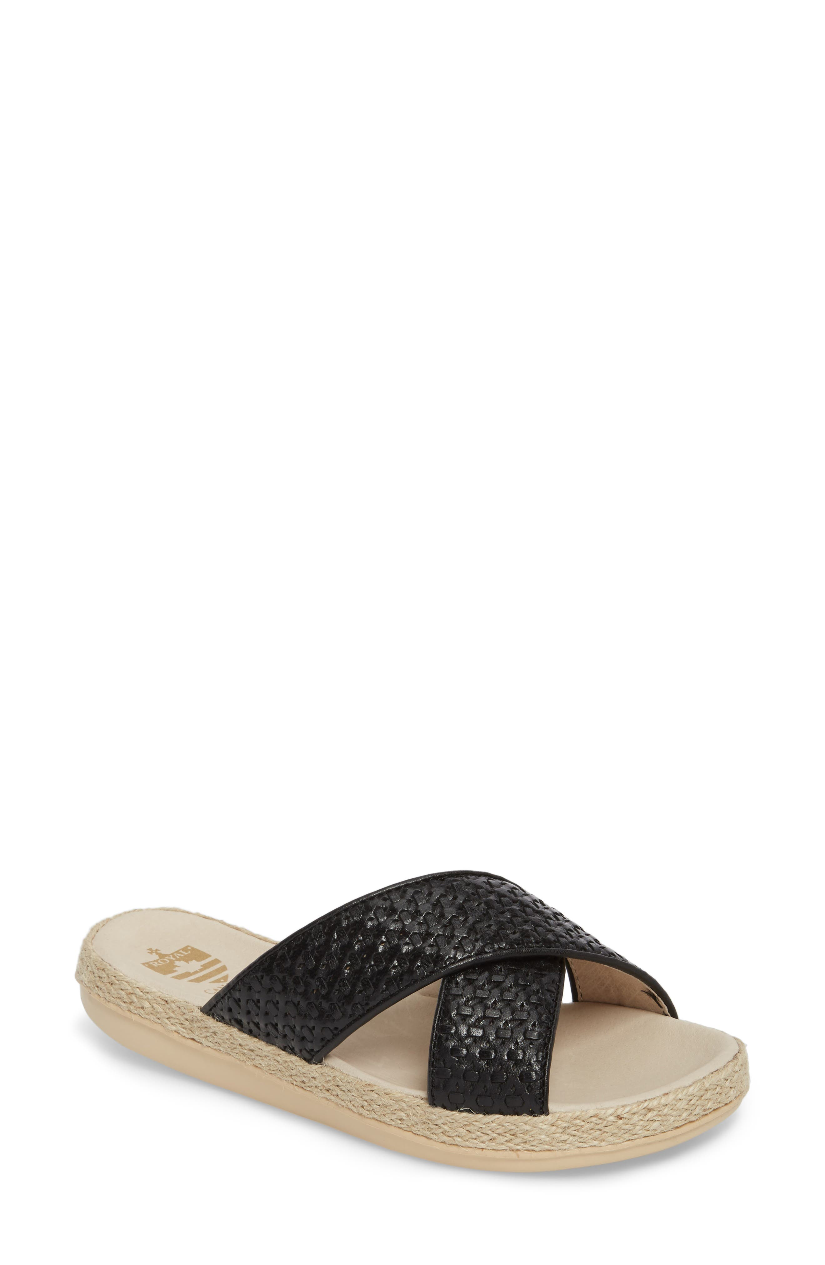 Glencairn Sandal,                         Main,                         color, BLACK LEATHER