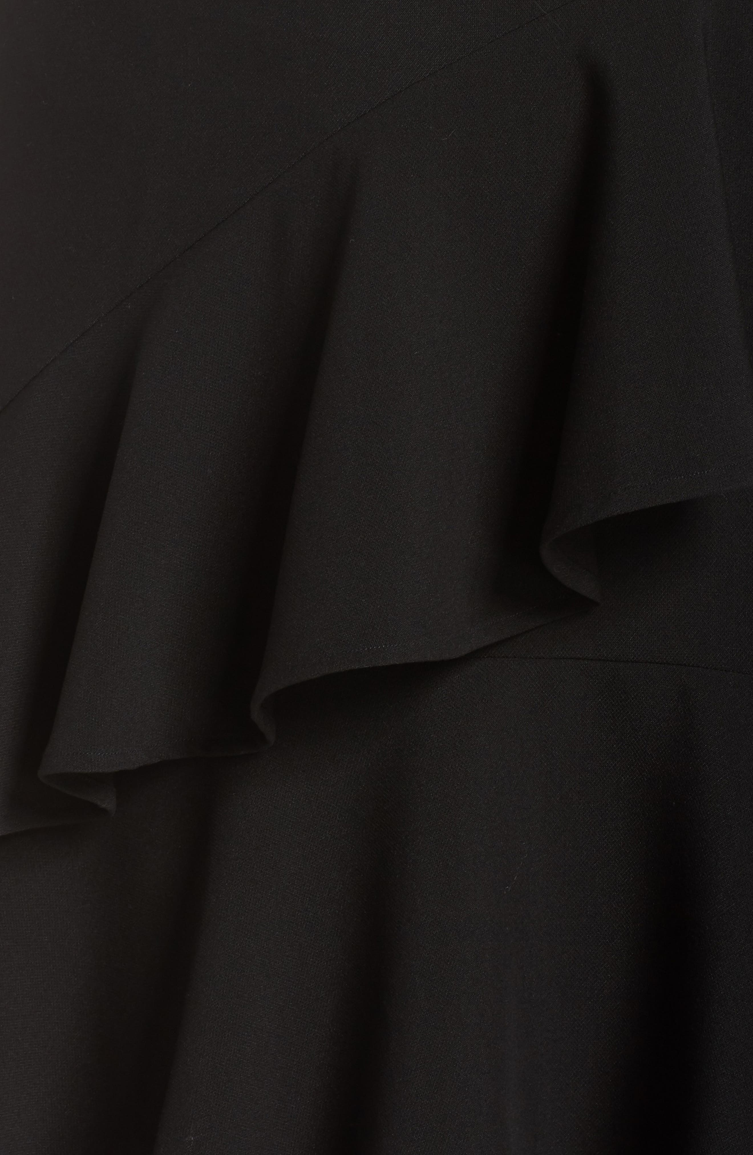Tiered Ruffle Crepe Skirt,                             Alternate thumbnail 5, color,                             RICH BLACK