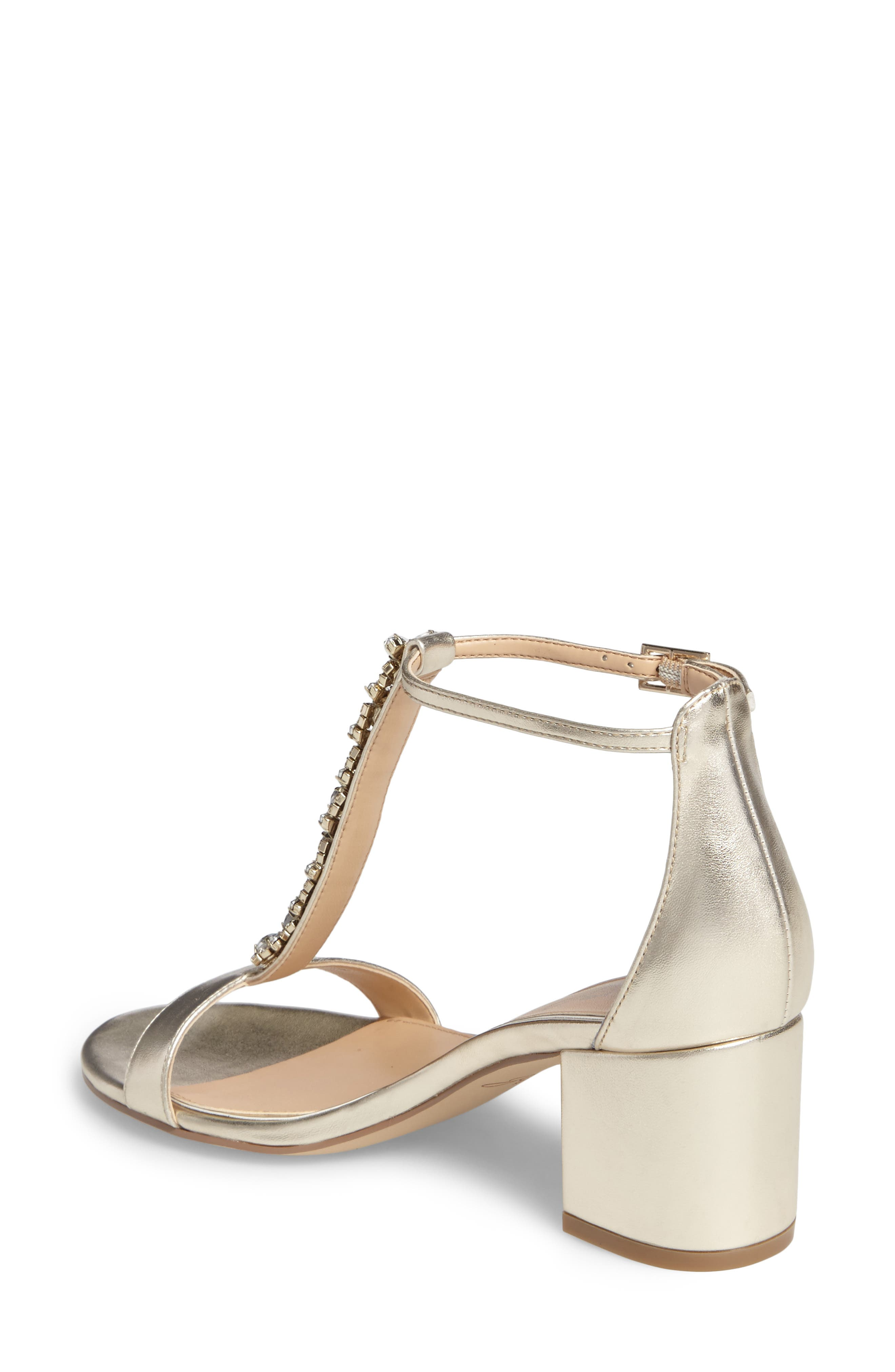 Lindsey Embellished T-Strap Sandal,                             Alternate thumbnail 2, color,                             GOLD LEATHER