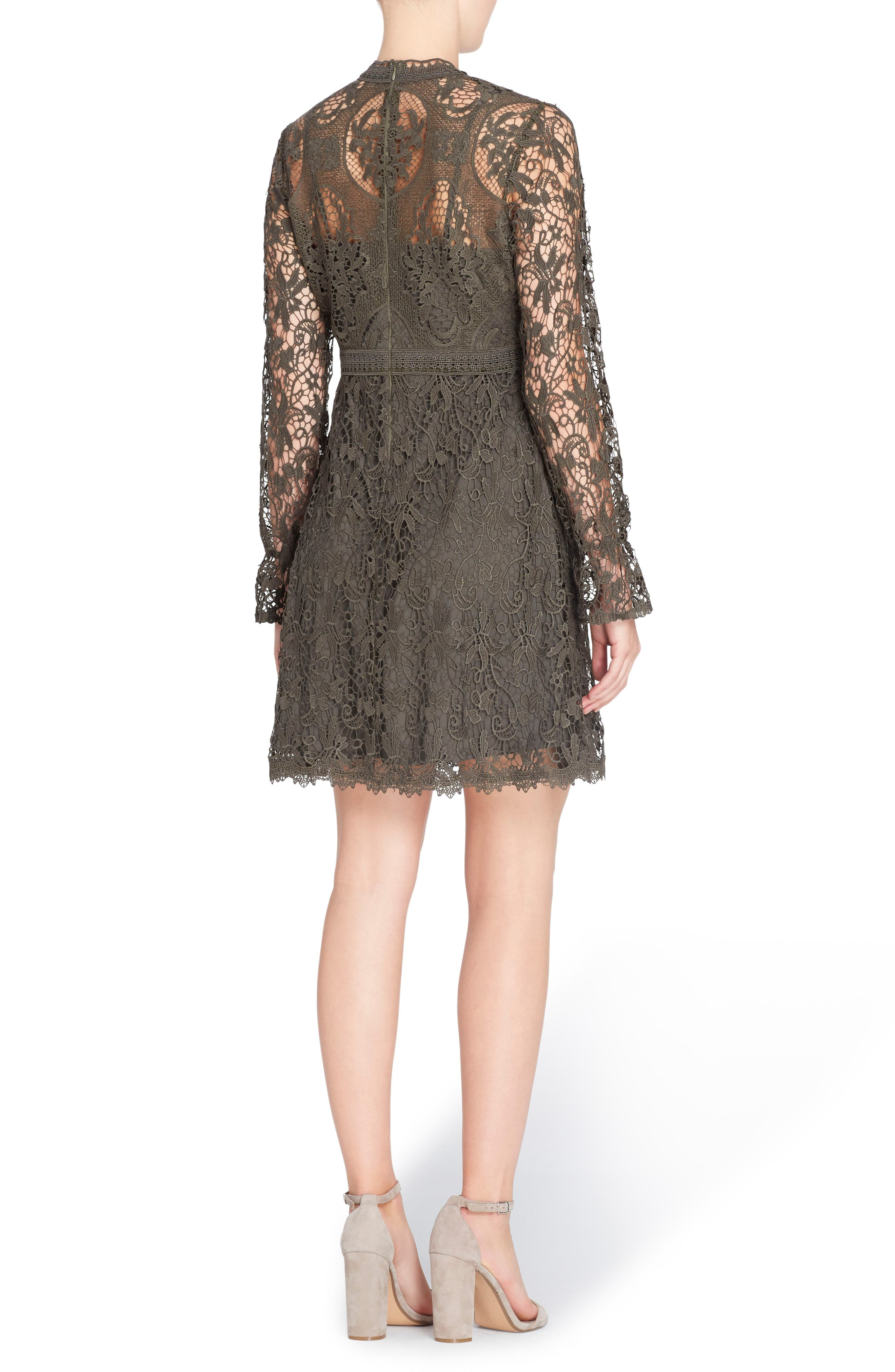 Miia Lace Fit & Flare Dress,                             Alternate thumbnail 2, color,                             FOREST NIGHT