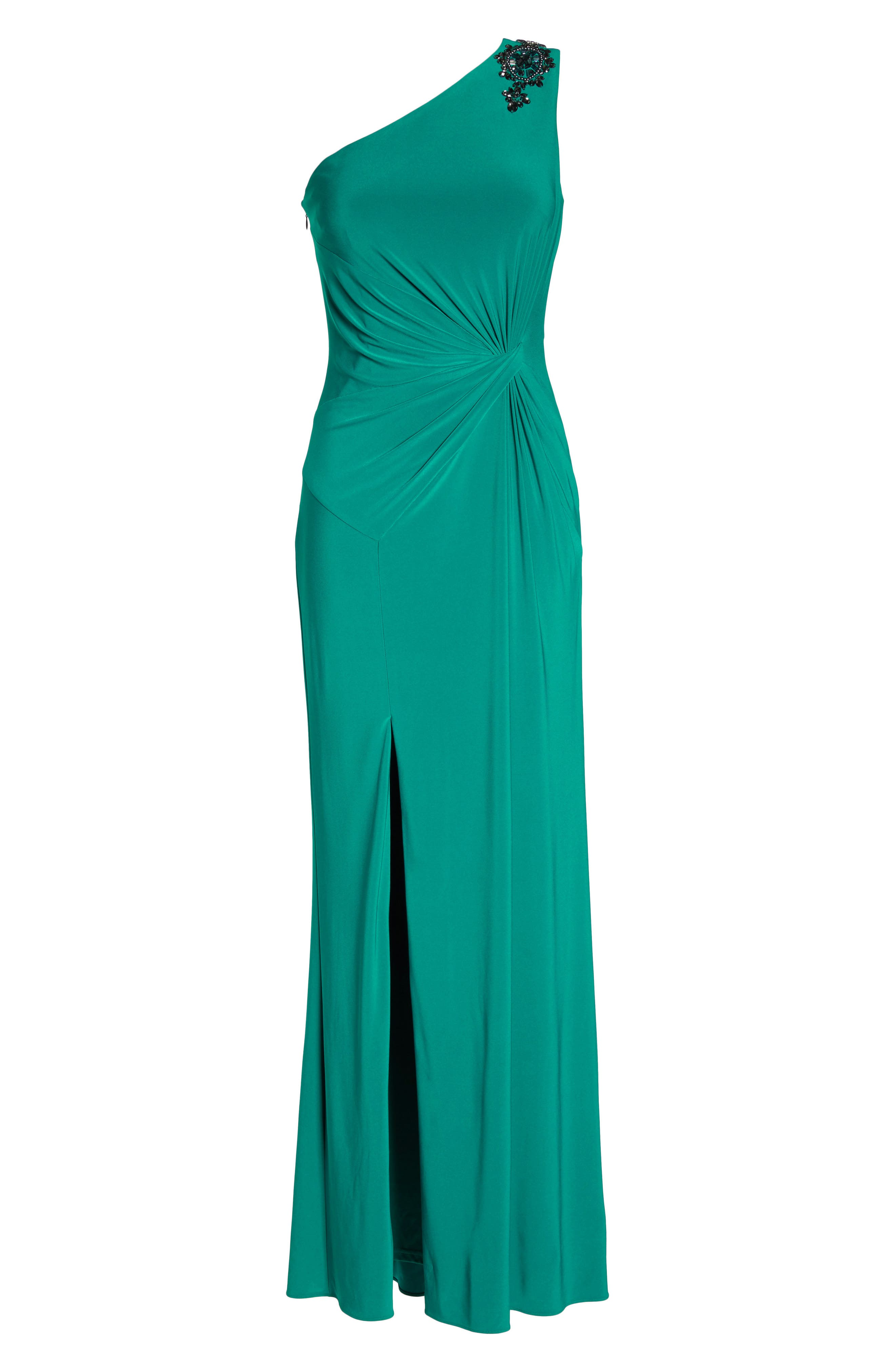 One-Shoulder Jersey Gown,                             Alternate thumbnail 7, color,                             311