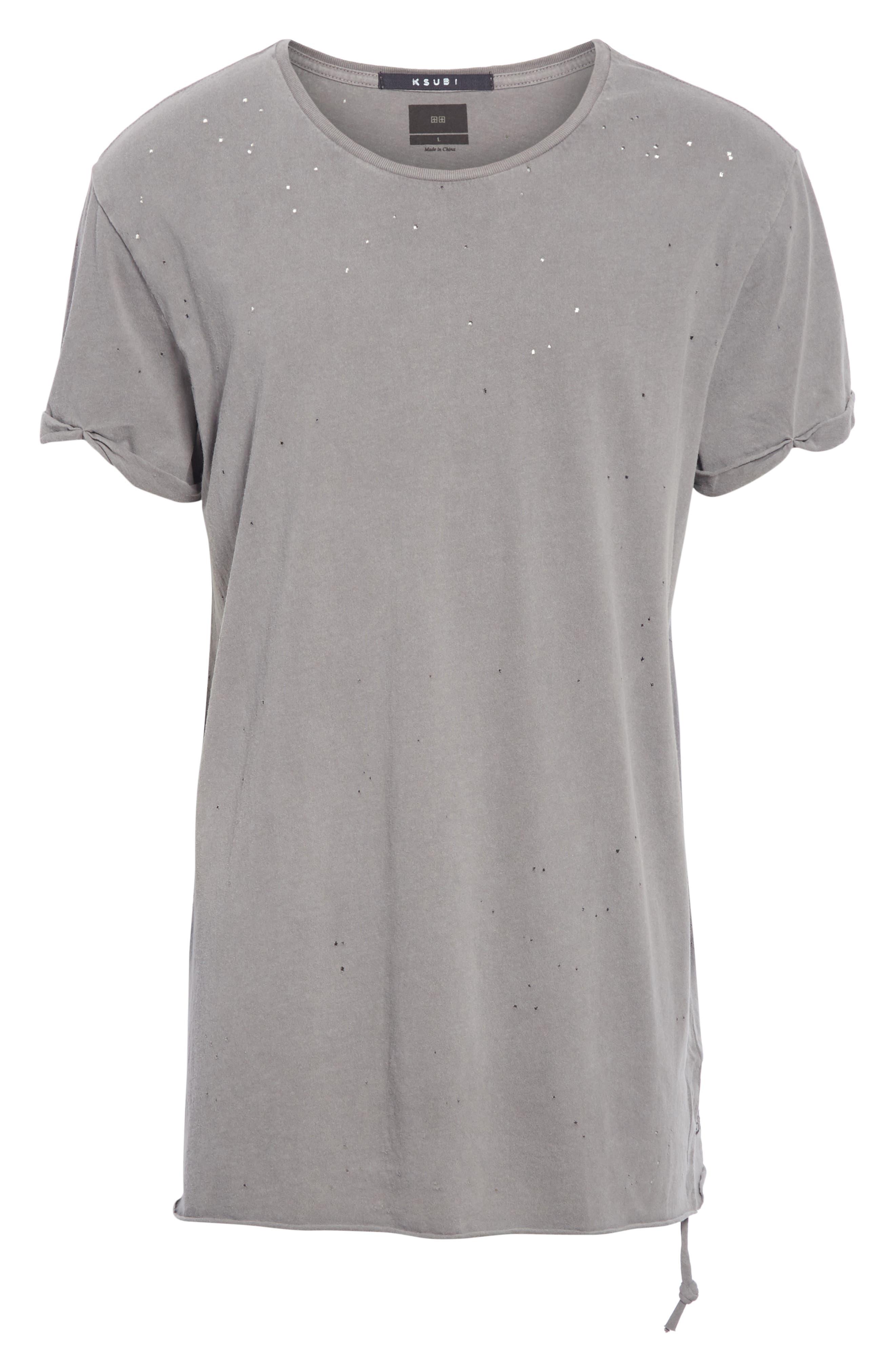 Kodeine Distressed T-Shirt,                             Alternate thumbnail 6, color,                             GREY