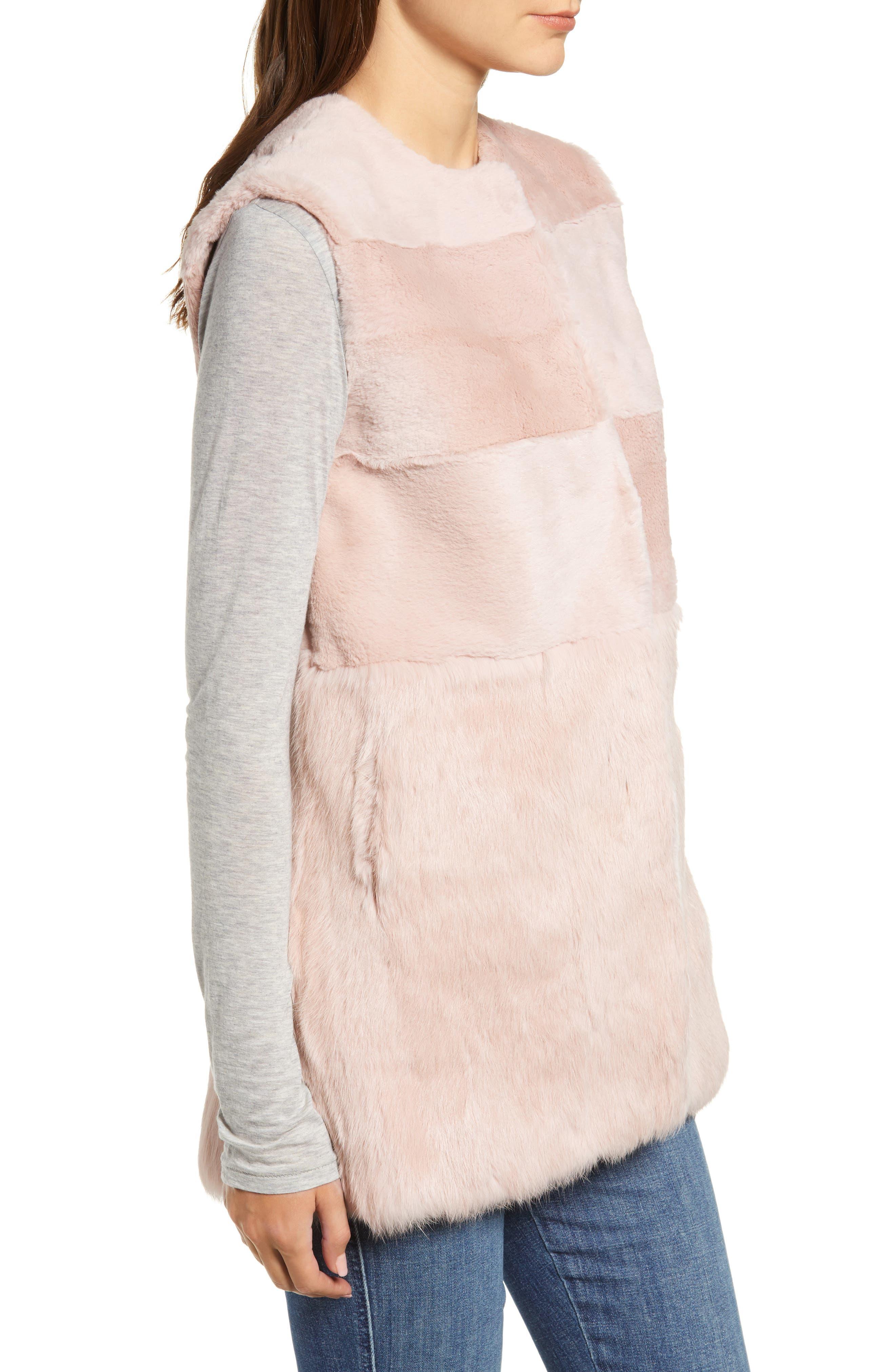 Collarless Genuine Rabbit Fur Vest,                             Alternate thumbnail 3, color,                             695