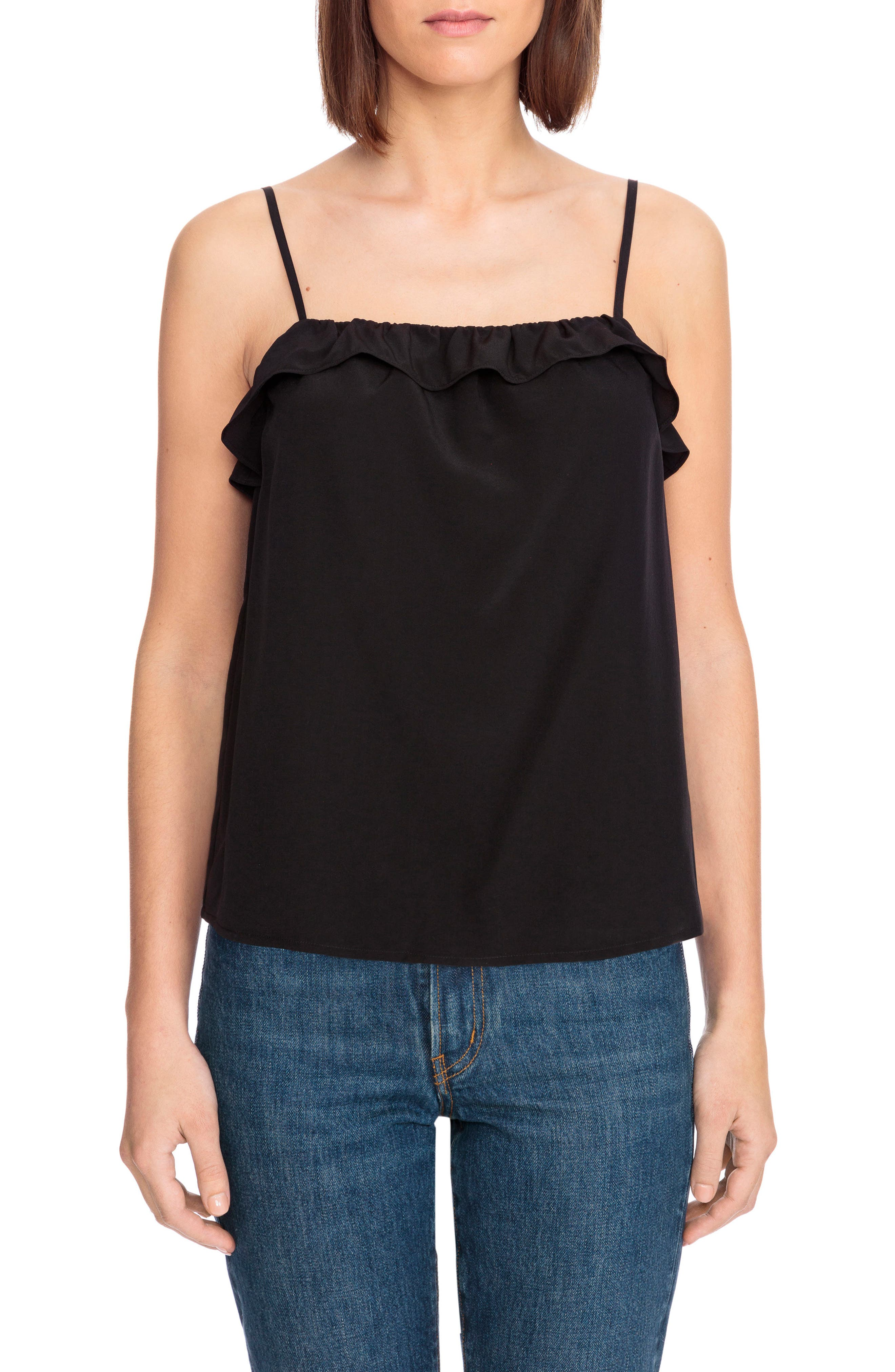 Cyrille Ruffle Silk Camisole,                             Main thumbnail 1, color,                             001