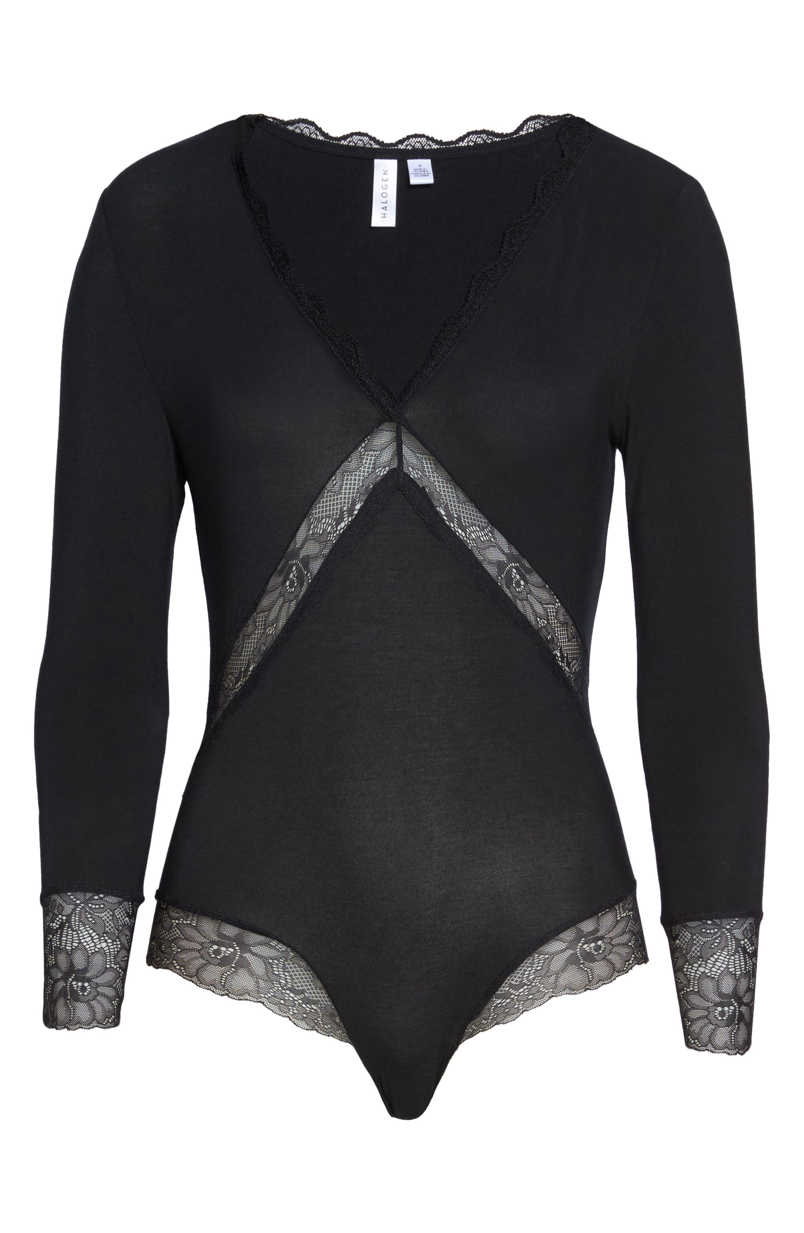 Giselle Lace Bodysuit,                             Alternate thumbnail 6, color,                             001
