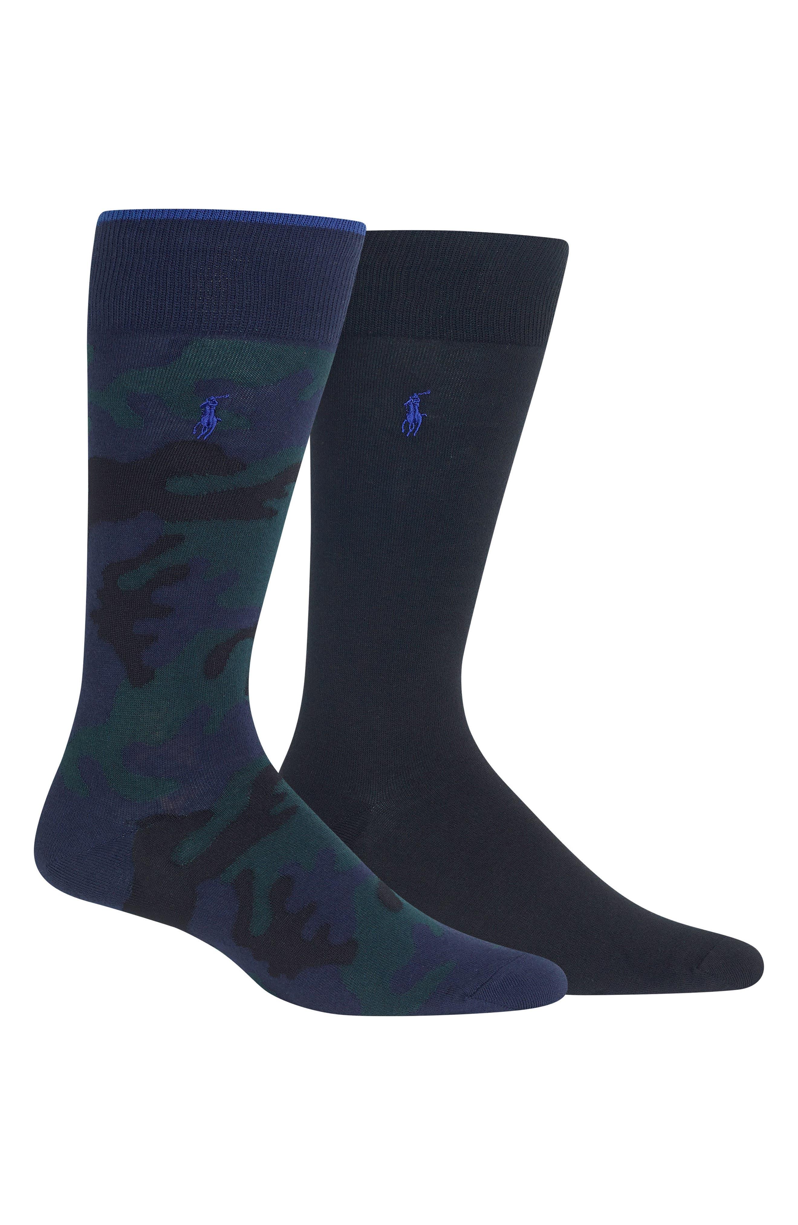 2-Pack Camo & Solid Socks,                             Main thumbnail 1, color,                             NAVY