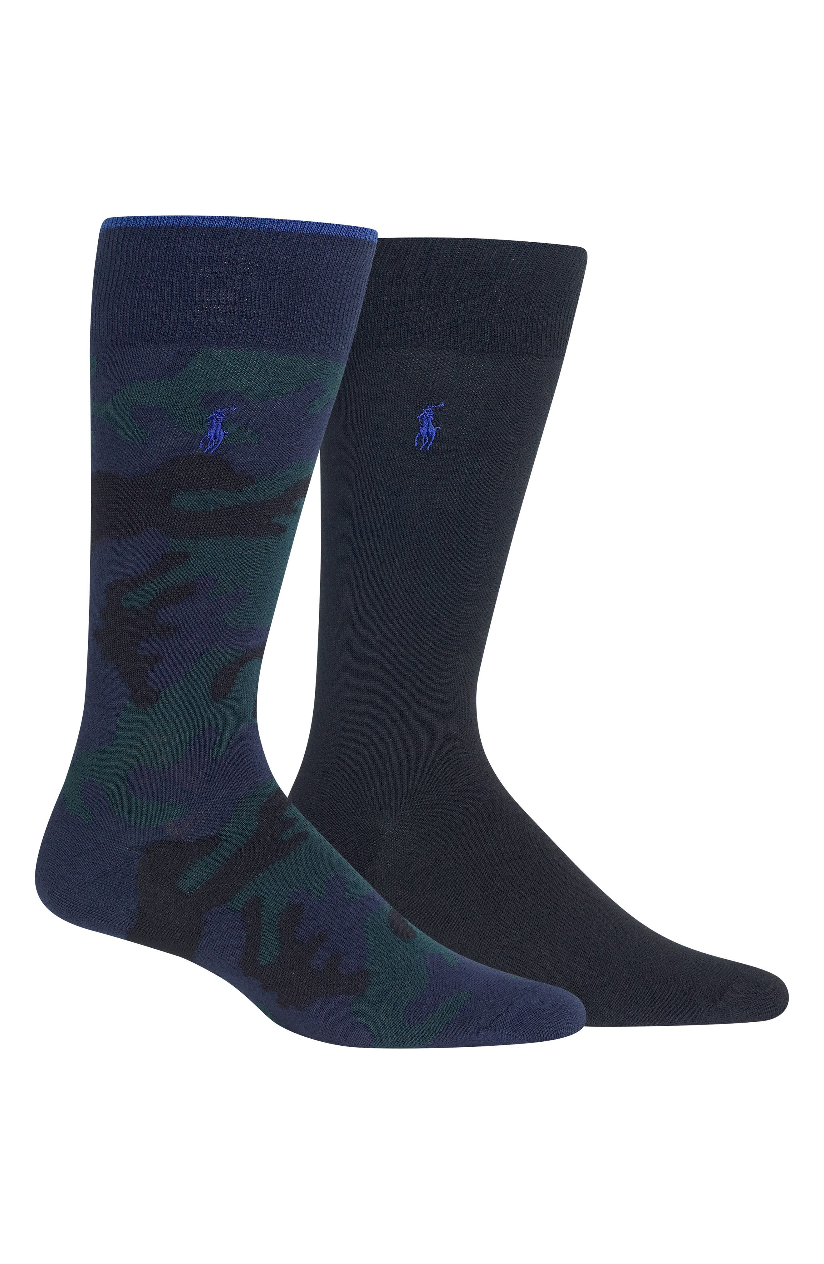 2-Pack Camo & Solid Socks,                         Main,                         color, NAVY